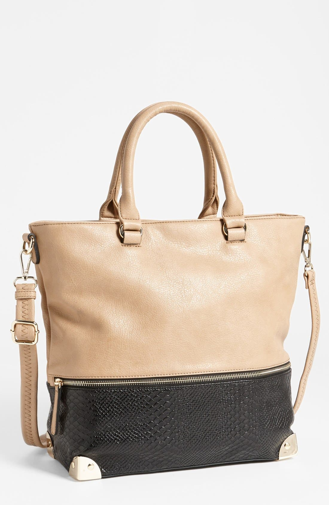 Main Image - Emperia Snake-Embossed Faux Leather Tote (Juniors)