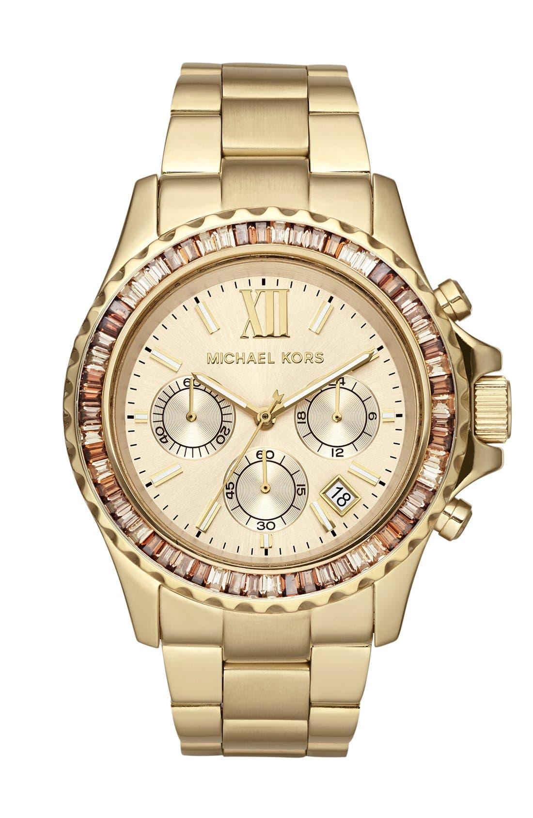 Main Image - Michael Kors 'Everest' Baguette Crystal Bezel Bracelet Watch, 41mm