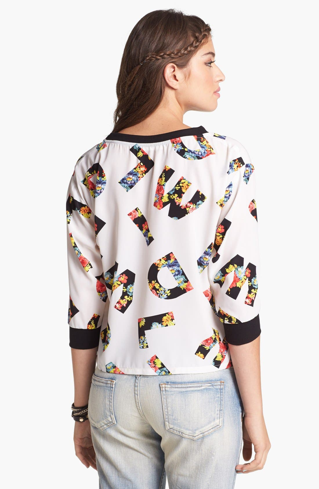 Alternate Image 2  - Lush Print Woven Top (Juniors)