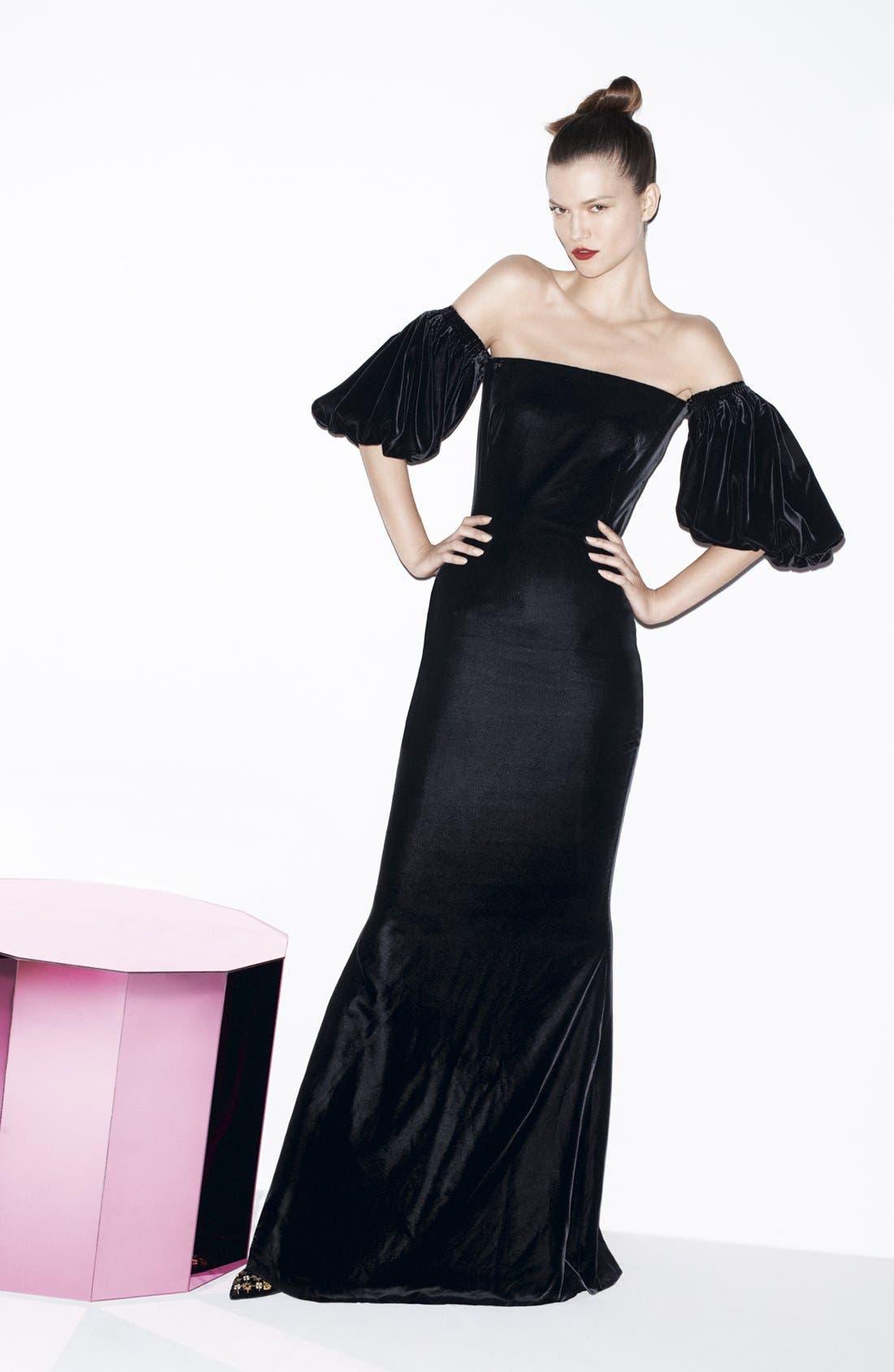Alternate Image 4  - Alexander McQueen Off Shoulder Velvet Gown
