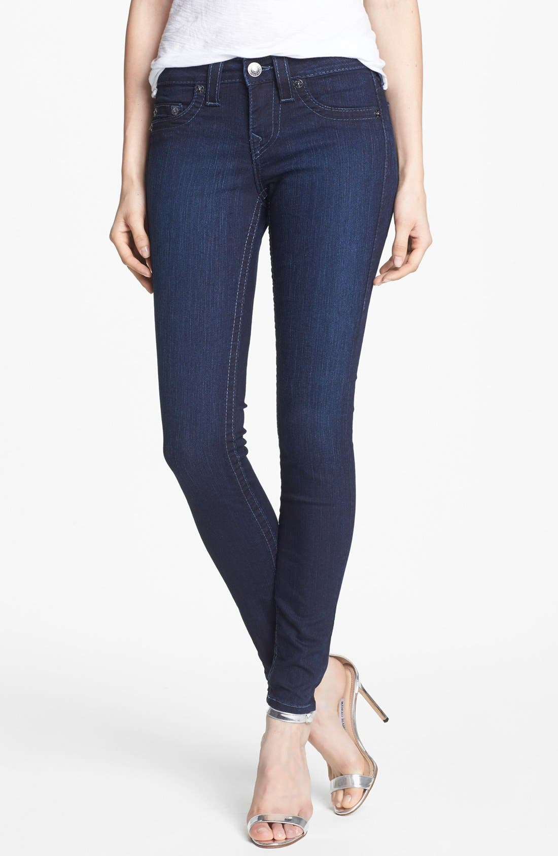 Alternate Image 1 Selected - True Religion Brand Jeans 'Halle' Mid Rise Skinny Jeans (Starlight)