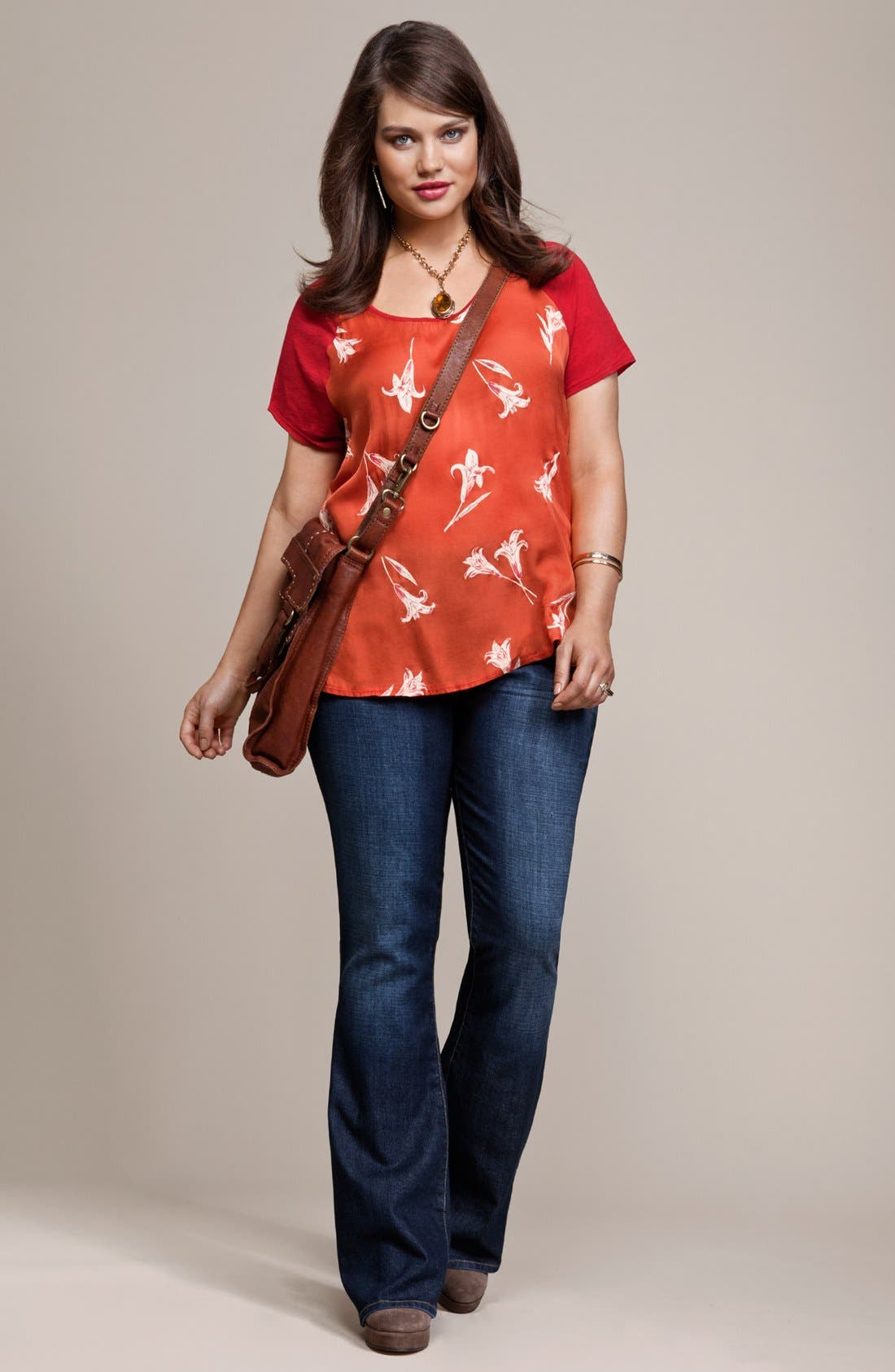 Alternate Image 4  - Lucky Brand 'Lily' Woven Front Tee (Plus Size)