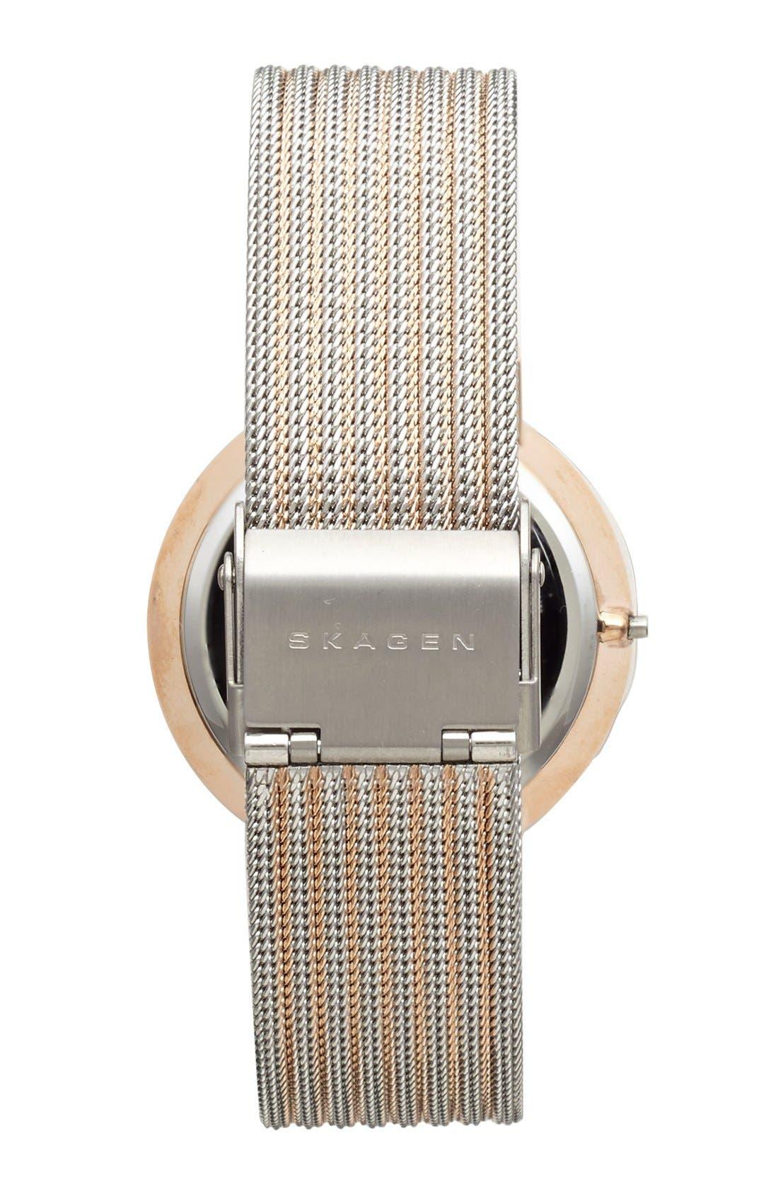 Alternate Image 2  - Skagen Mirror Bezel Stripe Mesh Strap Watch, 26mm