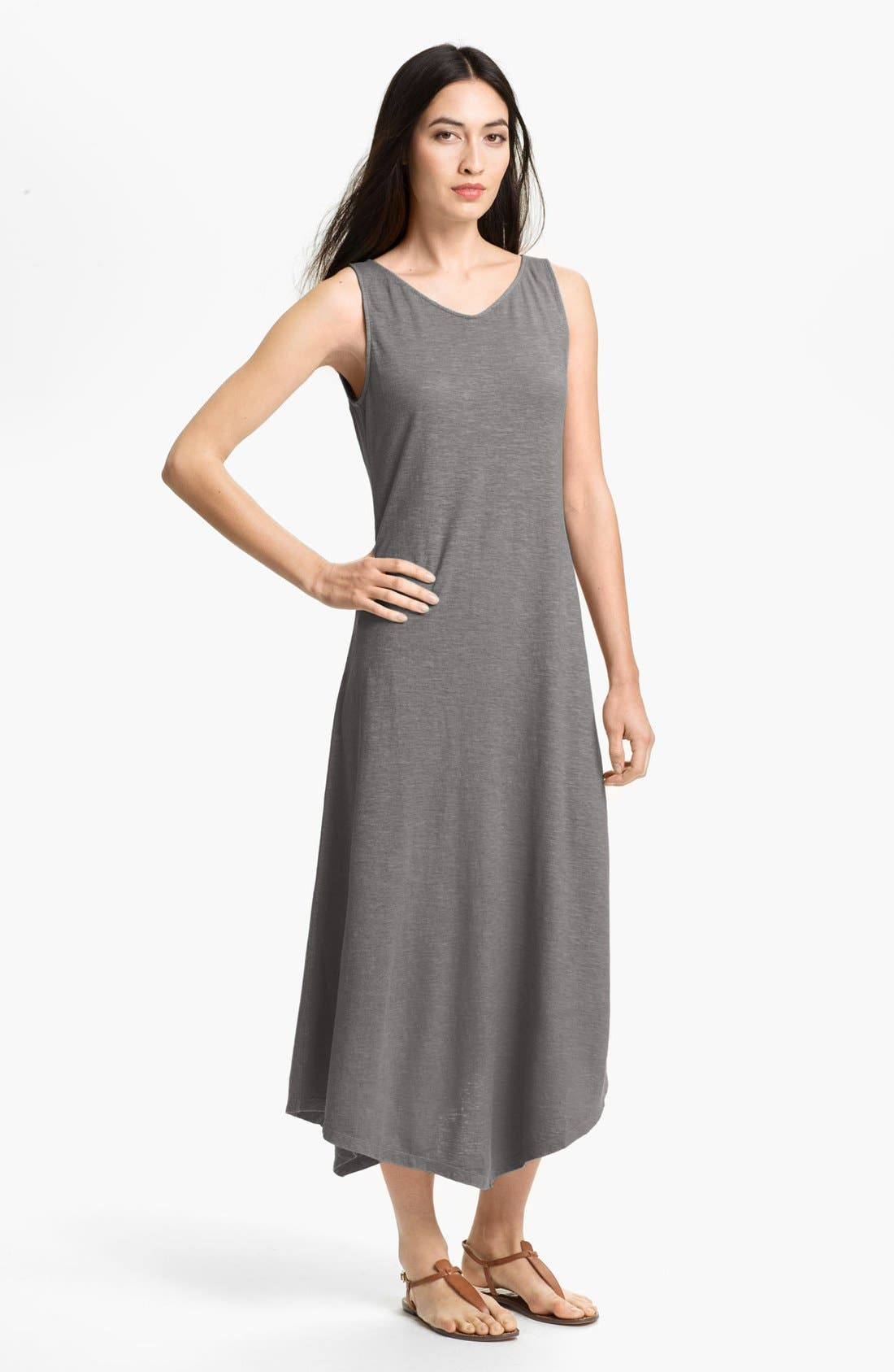 Main Image - Eileen Fisher Wide V-Neck Midi Dress (Petite)