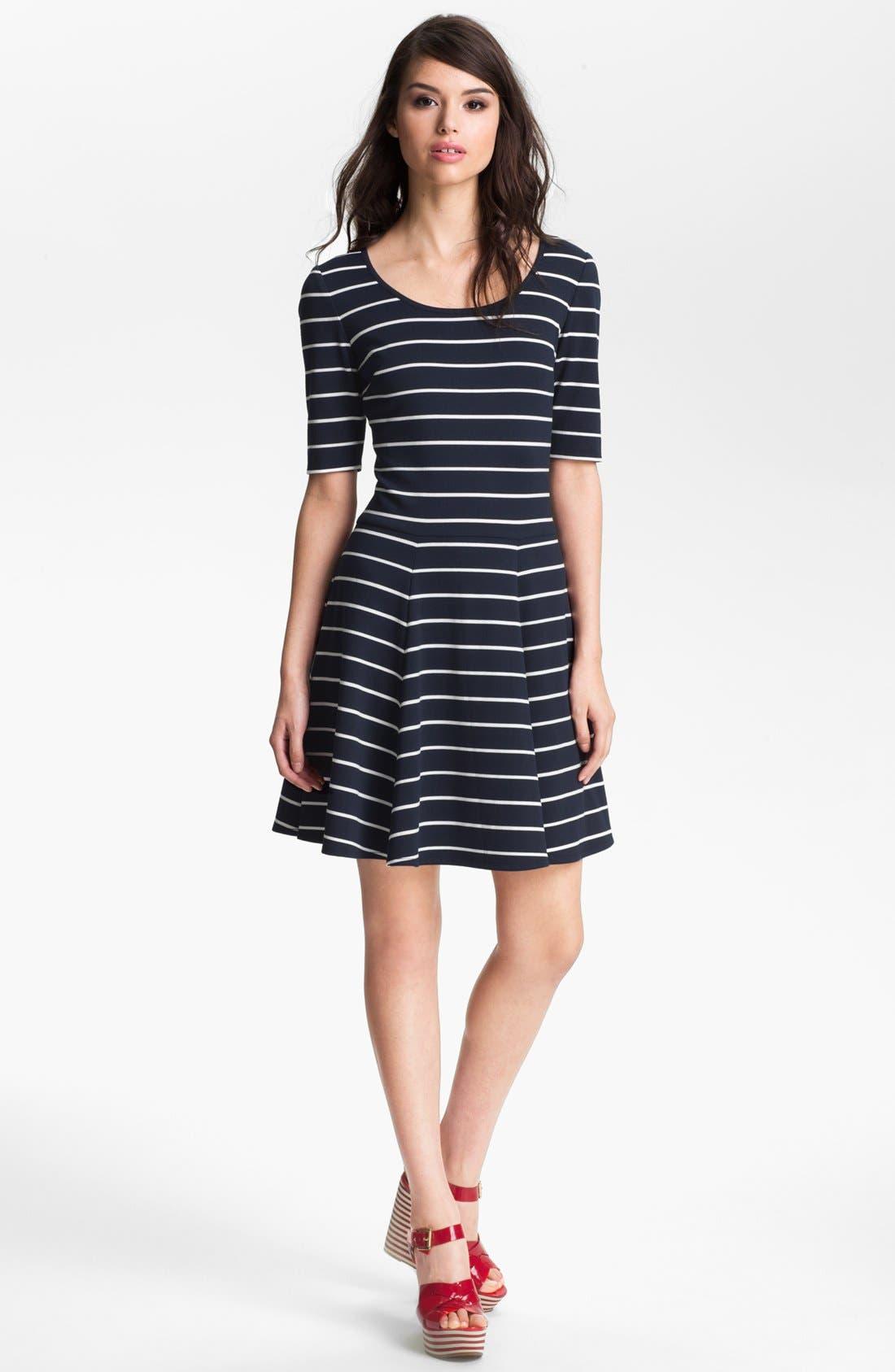 Alternate Image 1 Selected - Eliza J Stripe Fit & Flare Dress (Petite)