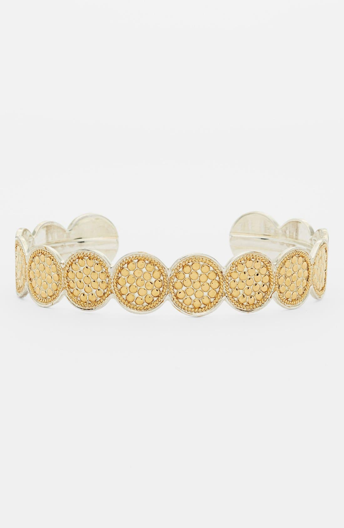 'Gili' Wire Rimmed Disc Skinny Cuff,                         Main,                         color, Gold/Slvr