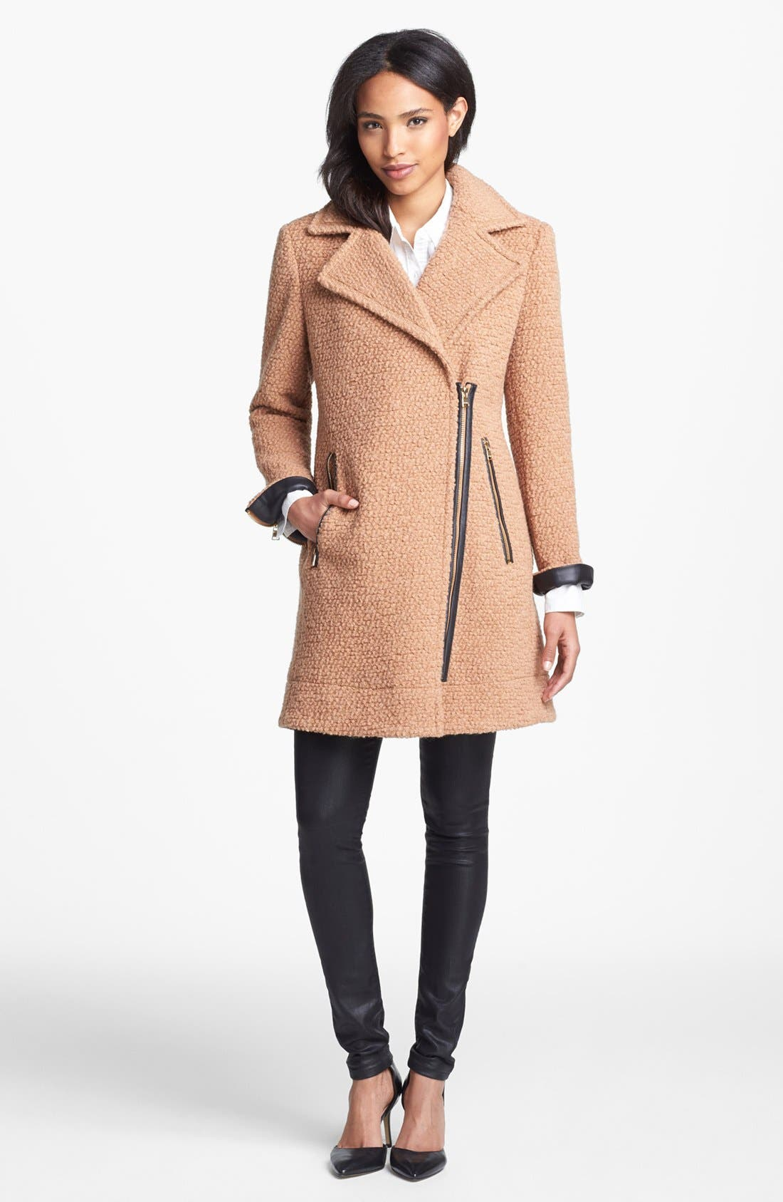 Alternate Image 1 Selected - Calvin Klein Asymmetrical Bouclé Jacket