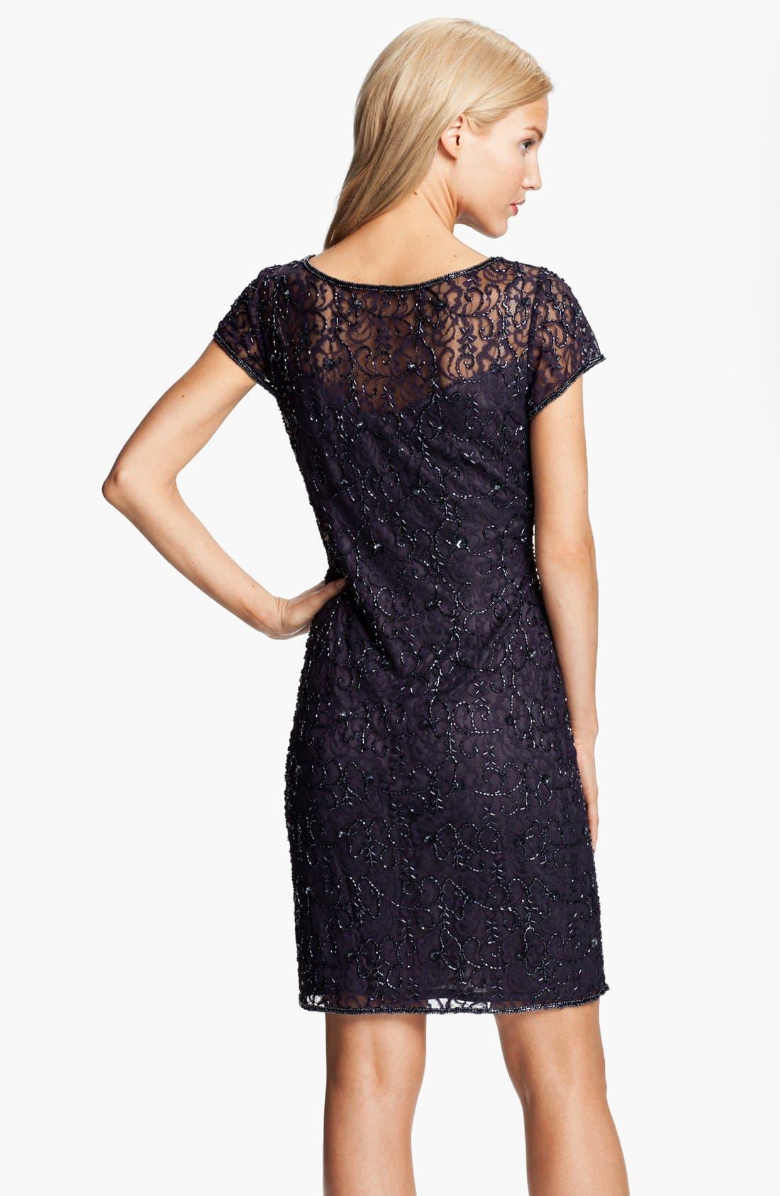 Alternate Image 2  - Pisarro Nights Beaded Lace Sheath Dress (Petite)