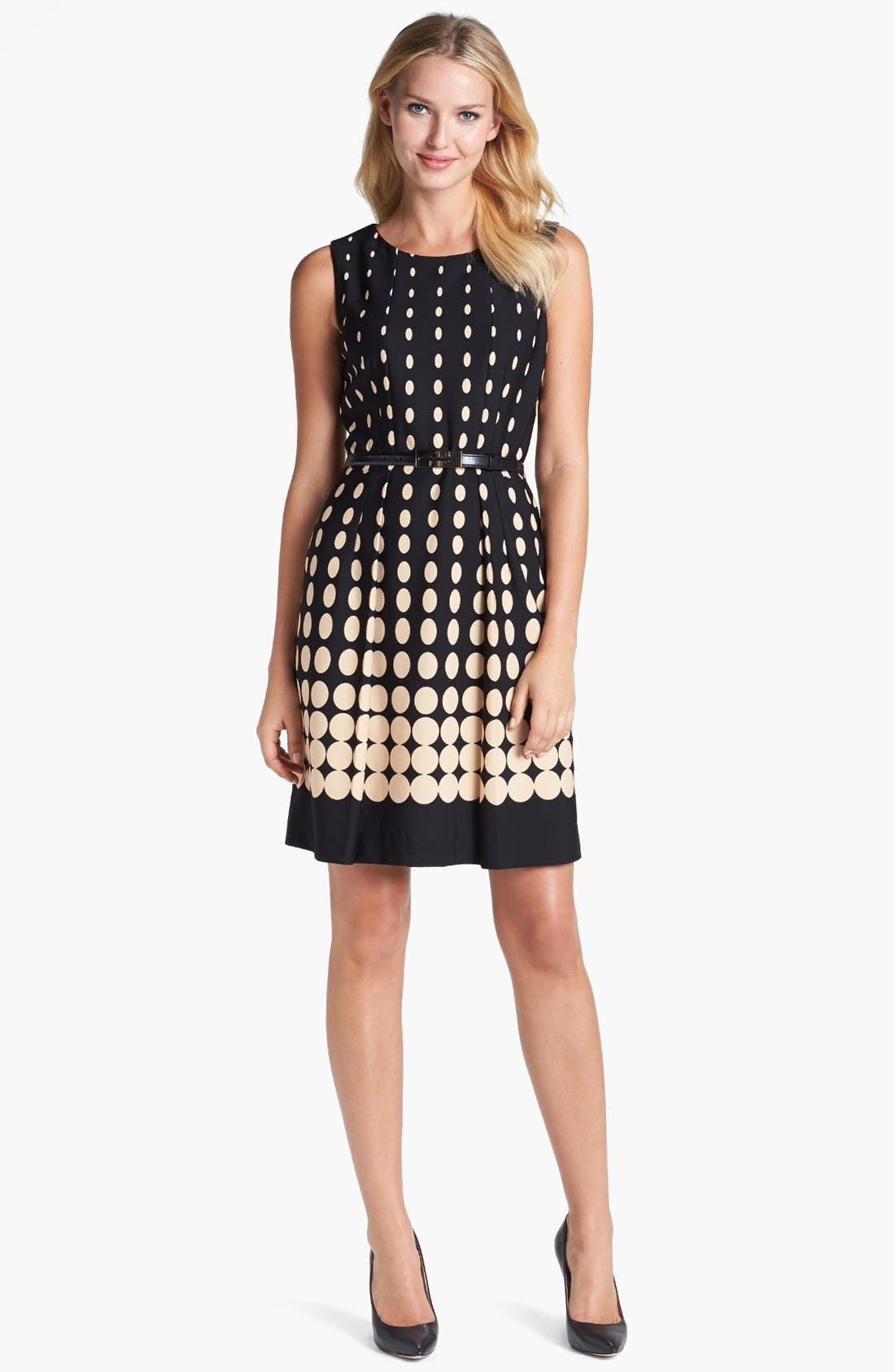 Alternate Image 1 Selected - Tahari Dot Fit & Flare Dress