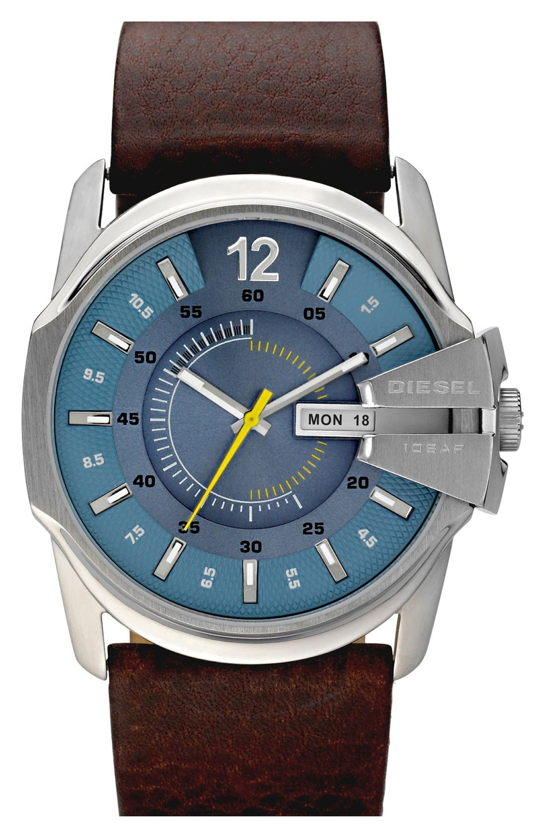 Alternate Image 1 Selected - DIESEL® 'Master Chief' Leather Strap Watch, 45mm