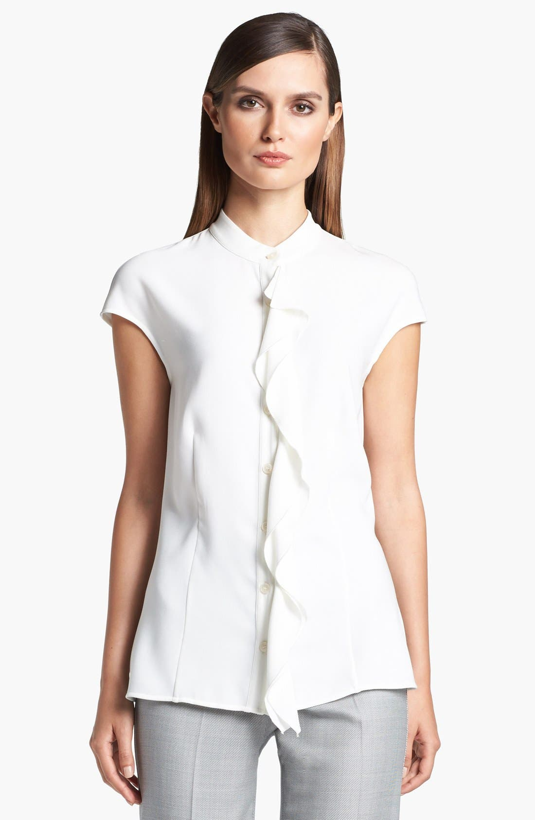 Main Image - St. John Collection Double Ruffle Luxe Crepe Blouse