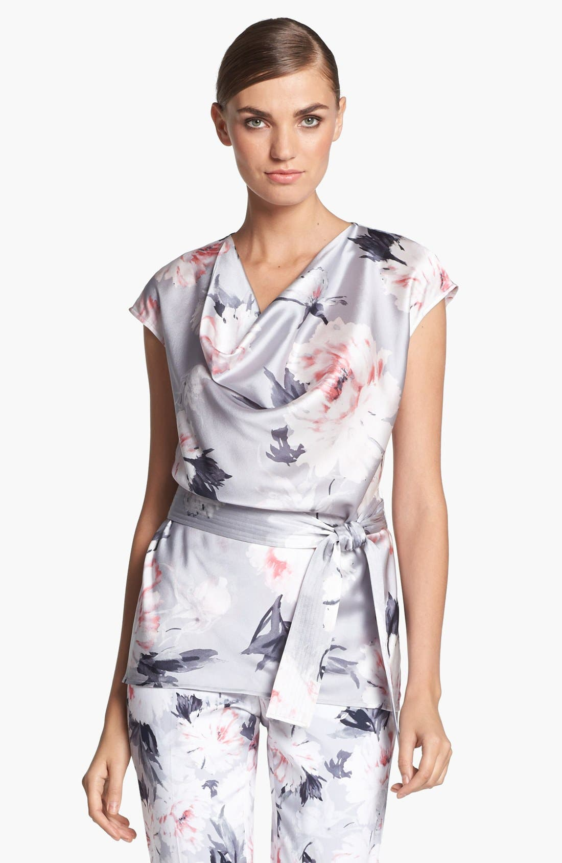 Main Image - St. John Collection Dahlia Print Charmeuse Blouse (Online Only)