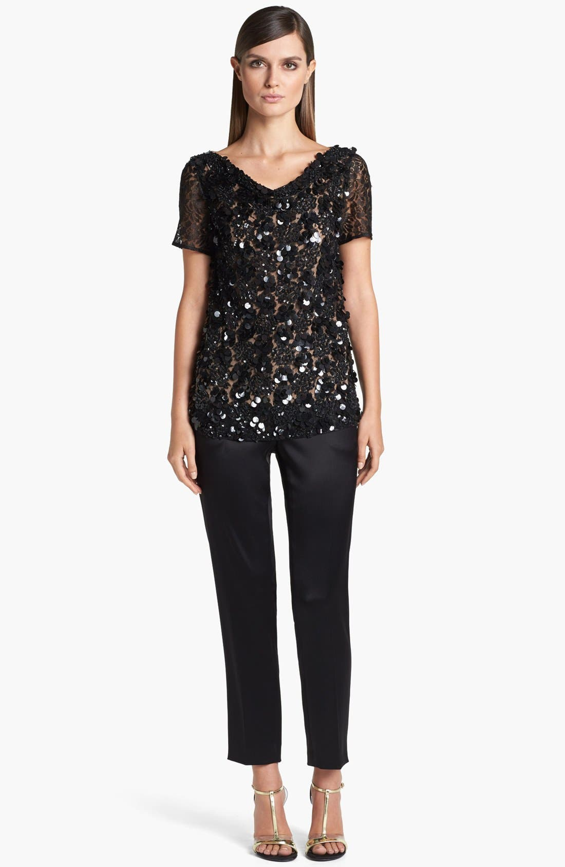 Alternate Image 2  - St. John Collection Cowl Neck Beaded Lace Top