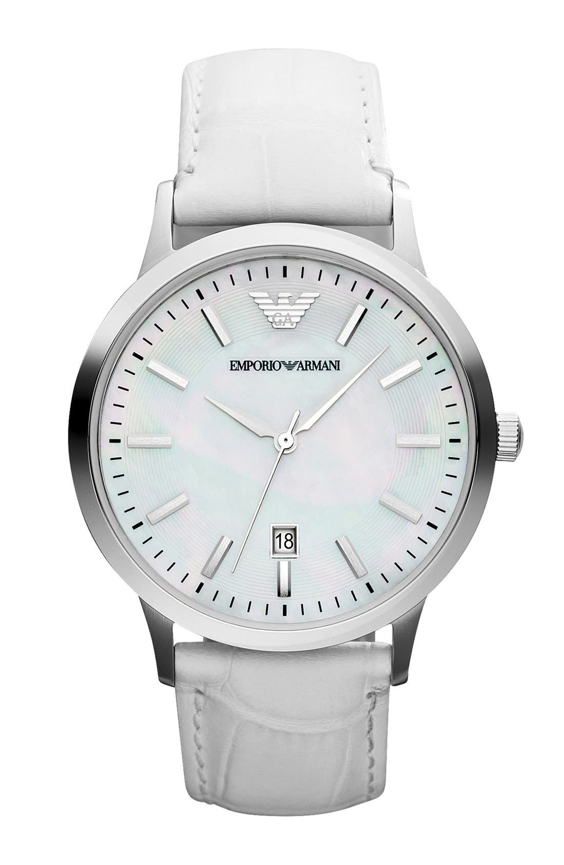 Alternate Image 1 Selected - Emporio Armani Round Leather Strap Watch, 40mm