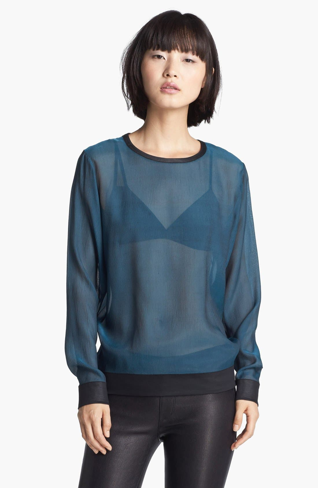 Alternate Image 1 Selected - Helmut Lang Sheer Silk Top