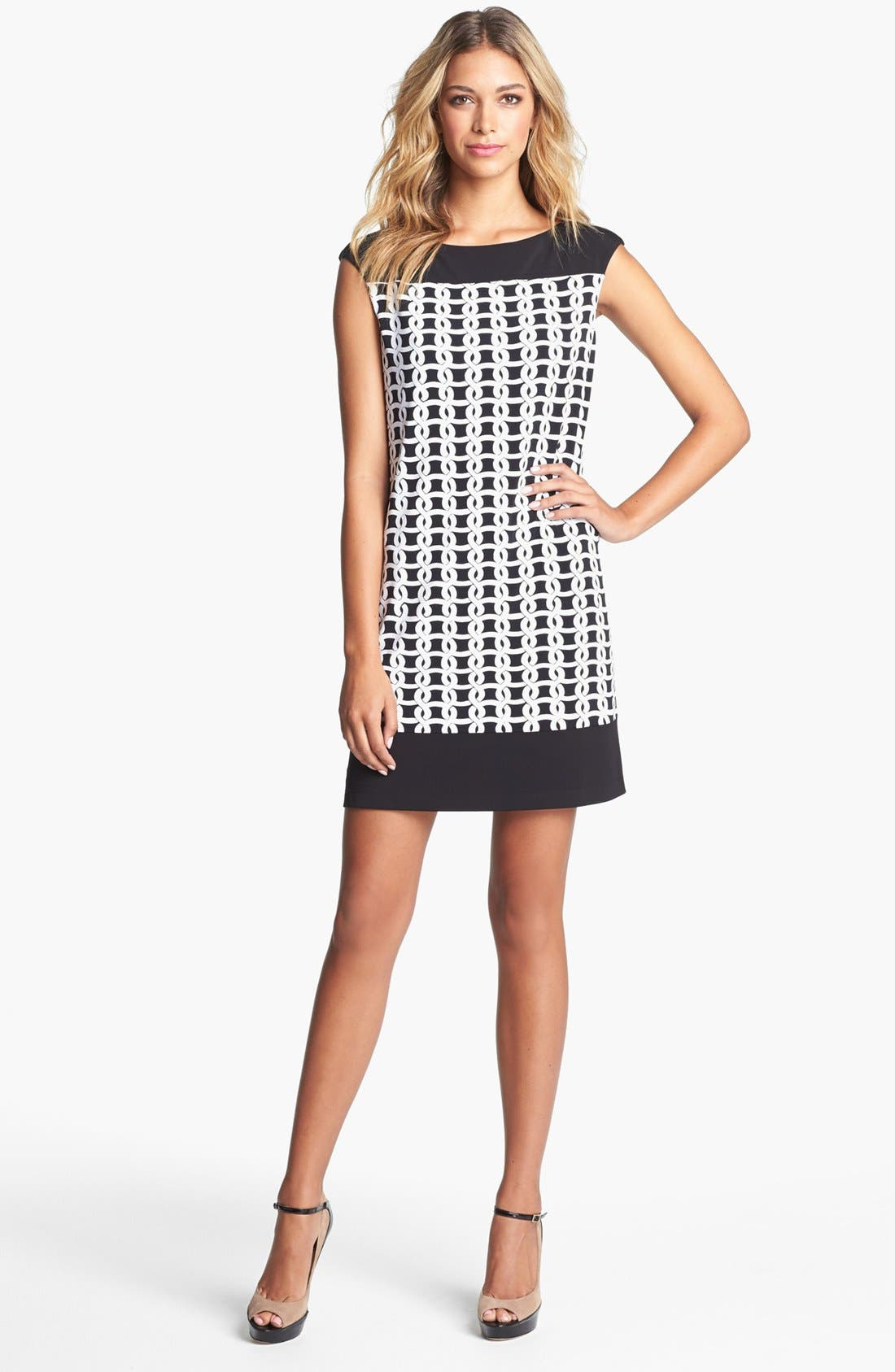 Main Image - Maggy London Print Jersey Shift Dress (Petite)