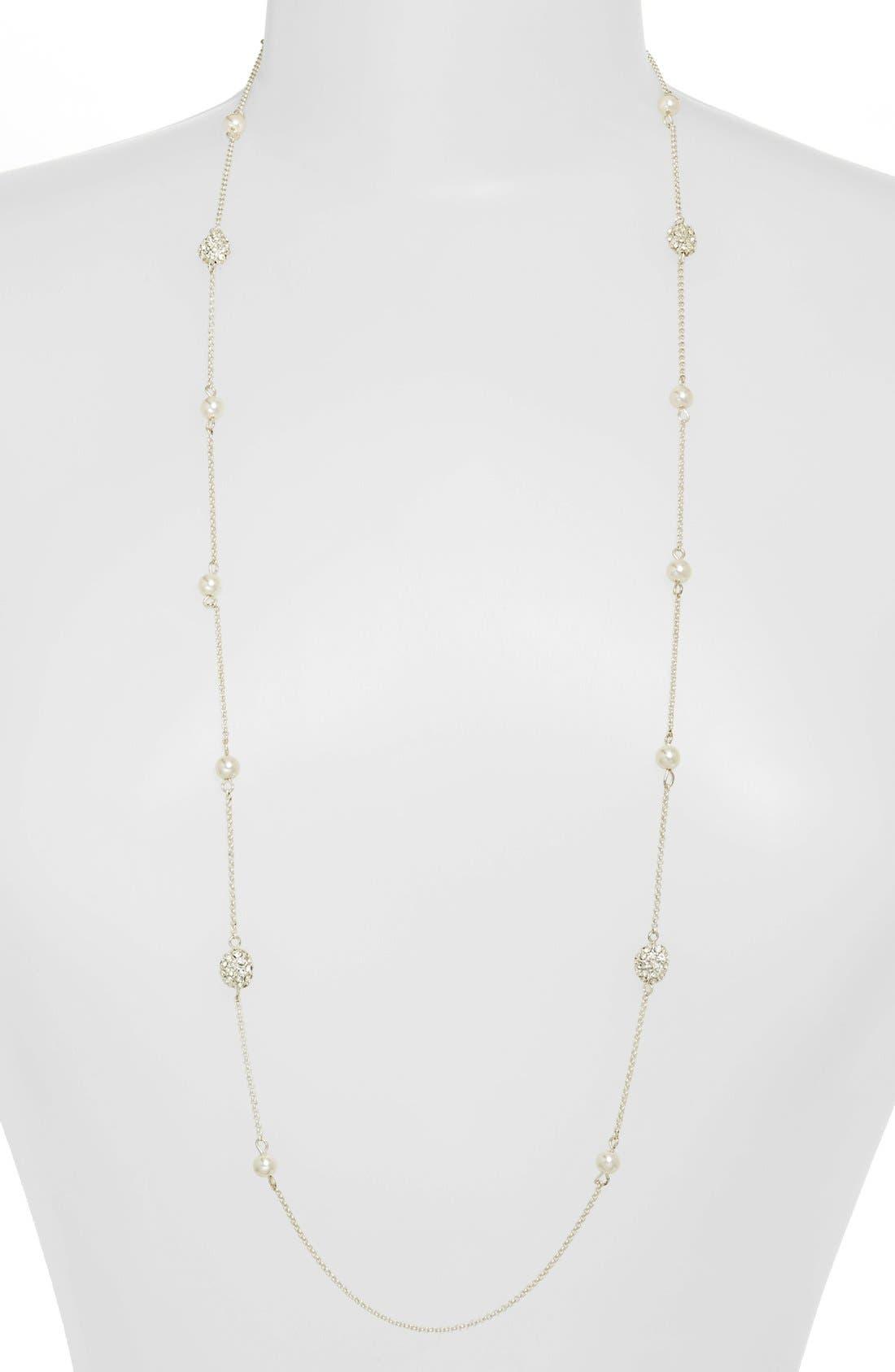 Main Image - Lauren Ralph Lauren Long Glass Pearl & Pavé Bead Illusion Necklace