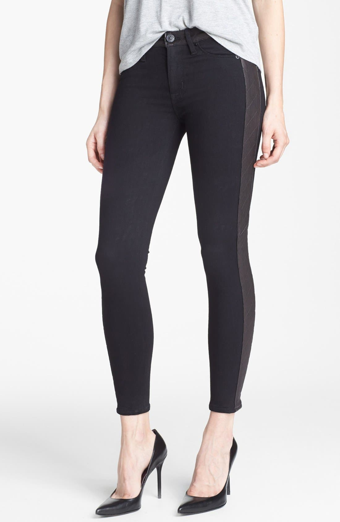 Main Image - Hudson Jeans 'Leeloo' Leather Trim Skinny Ankle Jeans (Black)