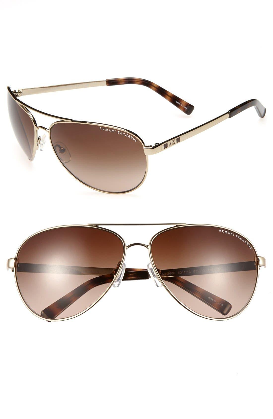 Main Image - AX Armani Exchange 63mm Aviator Sunglasses