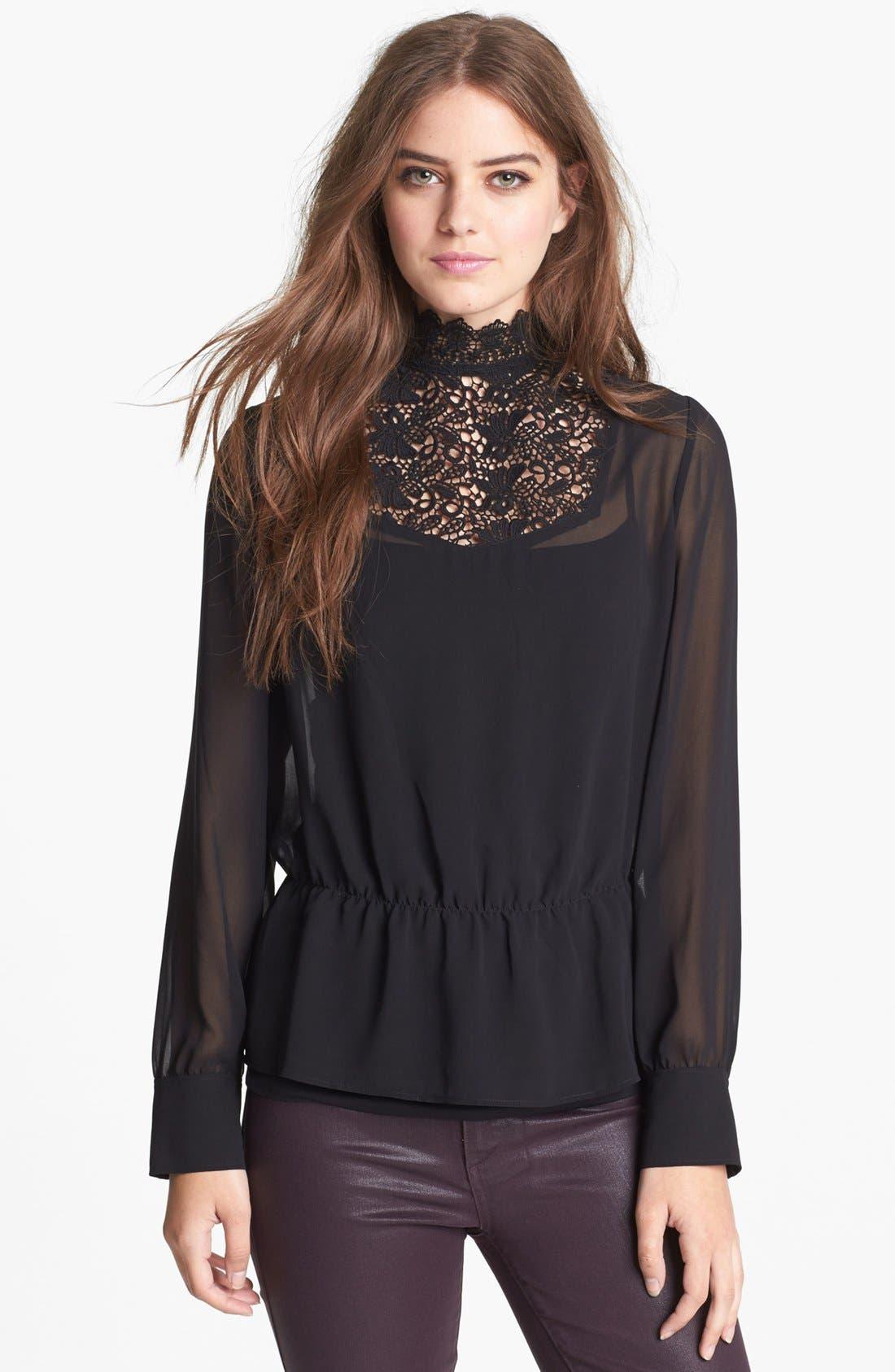 Alternate Image 1 Selected - Hinge® Lace Mock Neck Sheer Top