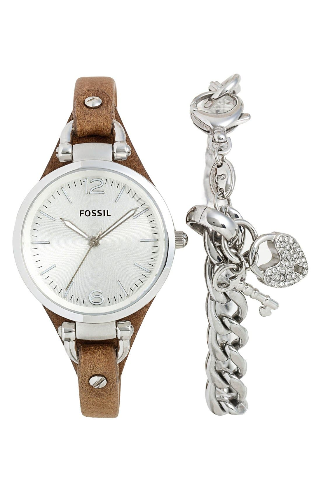 Main Image - Fossil 'Georgia' Leather Strap Watch & Charm Bracelet Set, 32mm ($123 Value)
