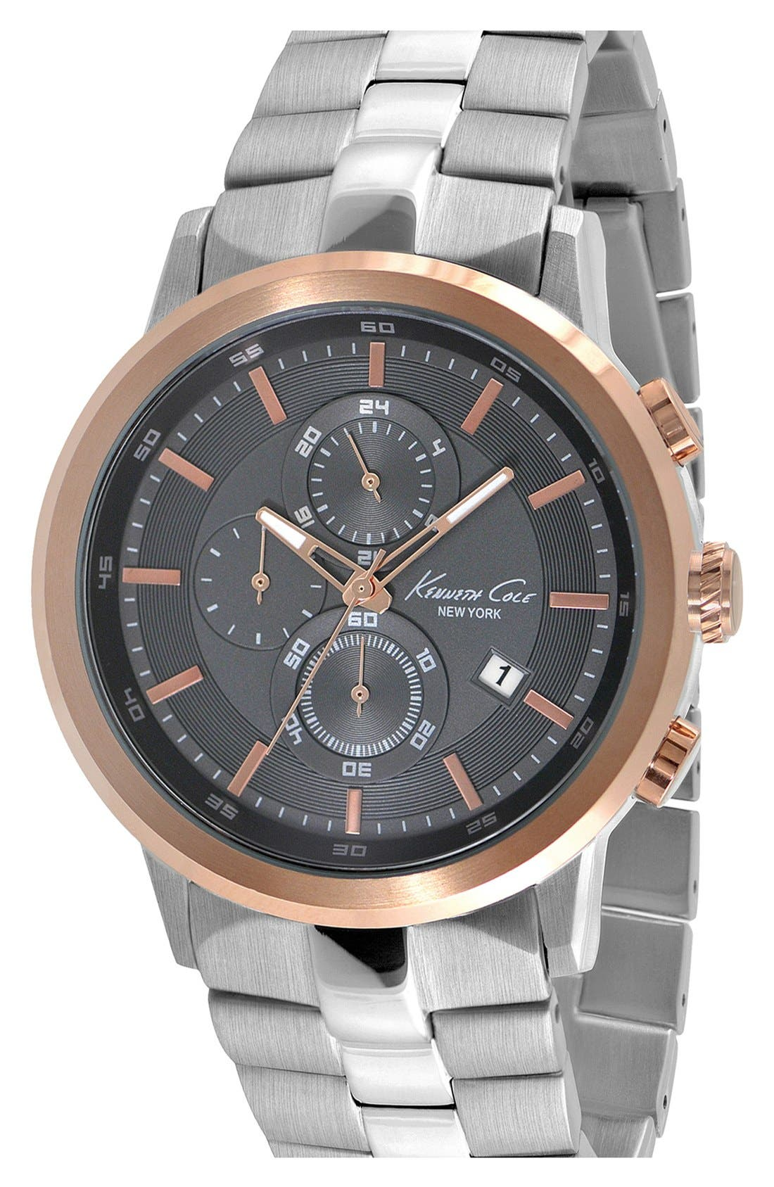Main Image - Kenneth Cole New York Round Chronograph Bracelet Watch, 46mm