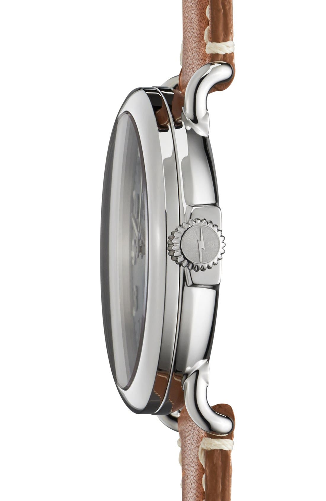 'The Runwell' Leather Strap Watch, 41mm,                             Alternate thumbnail 3, color,                             Brown/ Pale Grey