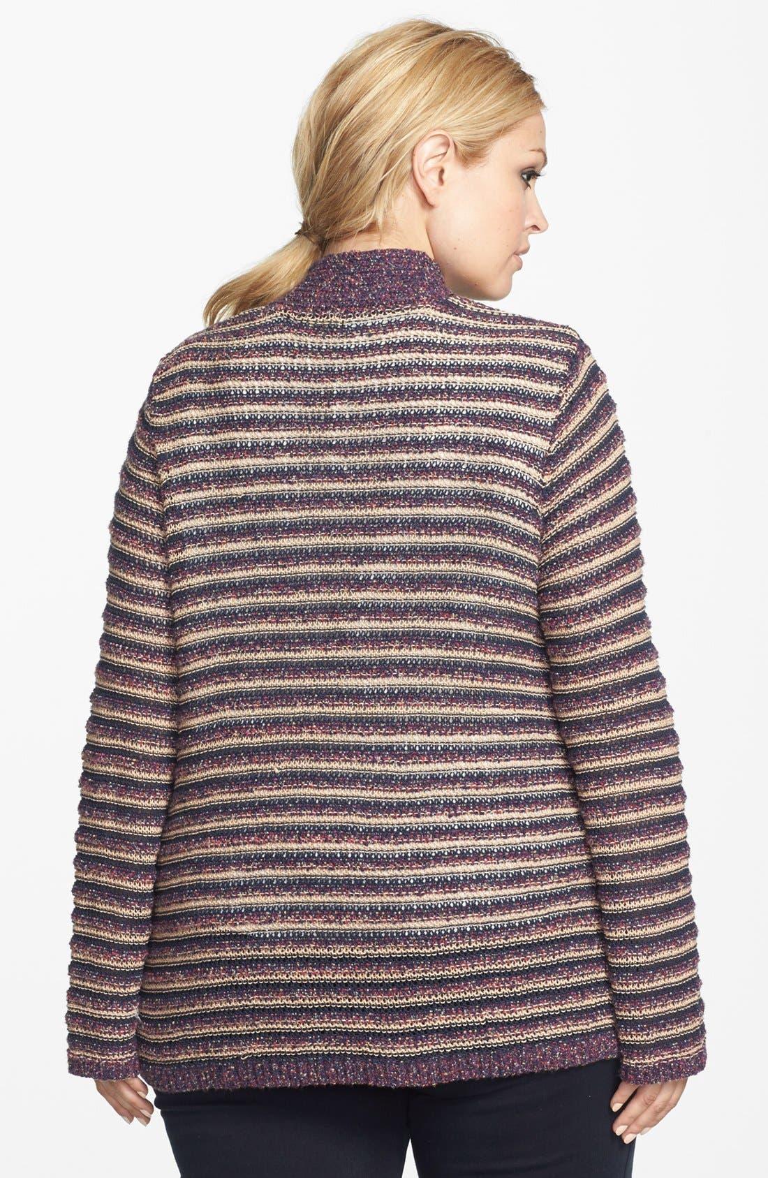 Alternate Image 2  - Lucky Brand Stripe Cardigan (Plus Size)