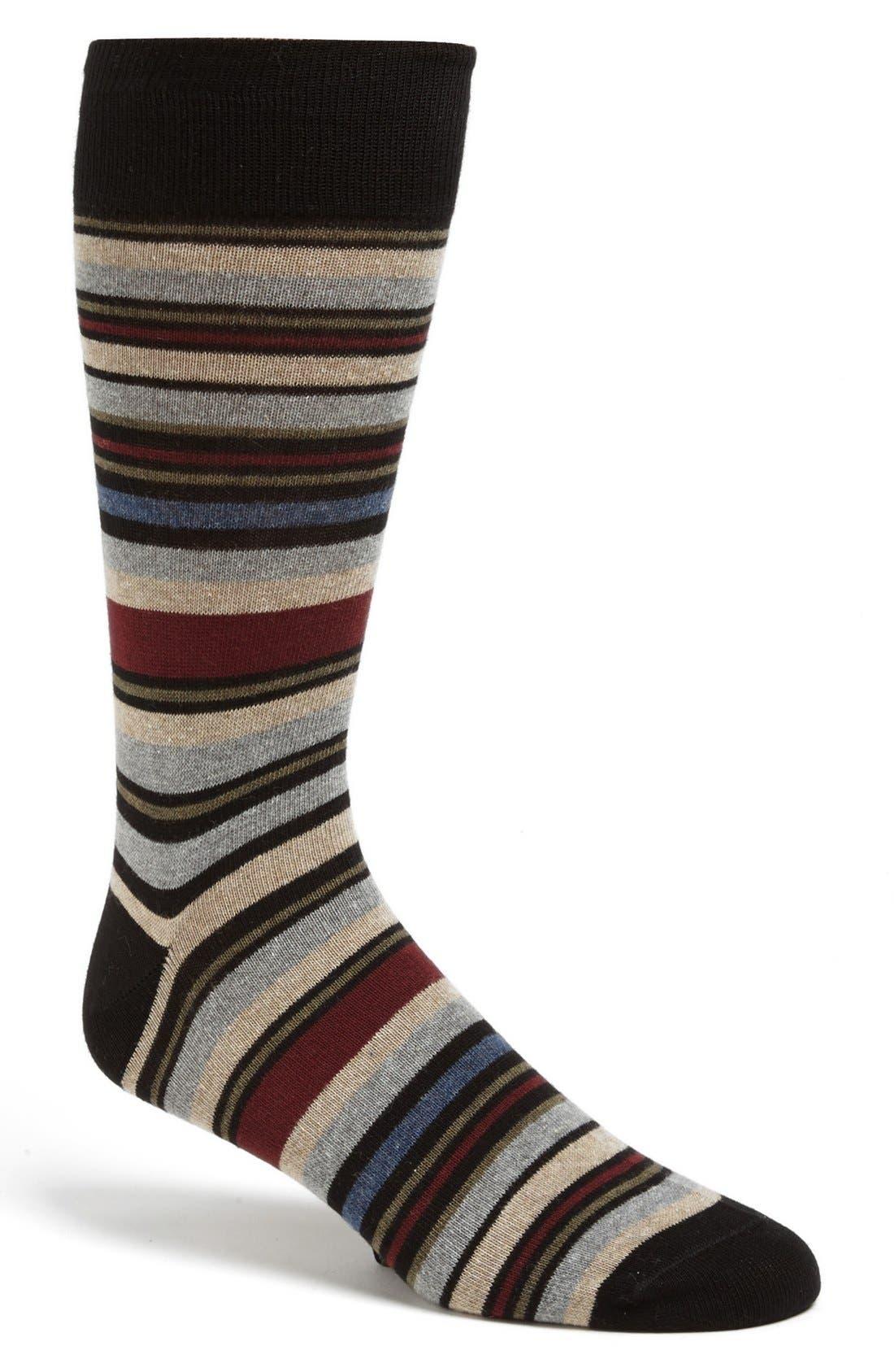 Alternate Image 1 Selected - Lorenzo Uomo Stripe Socks (3 for $30)