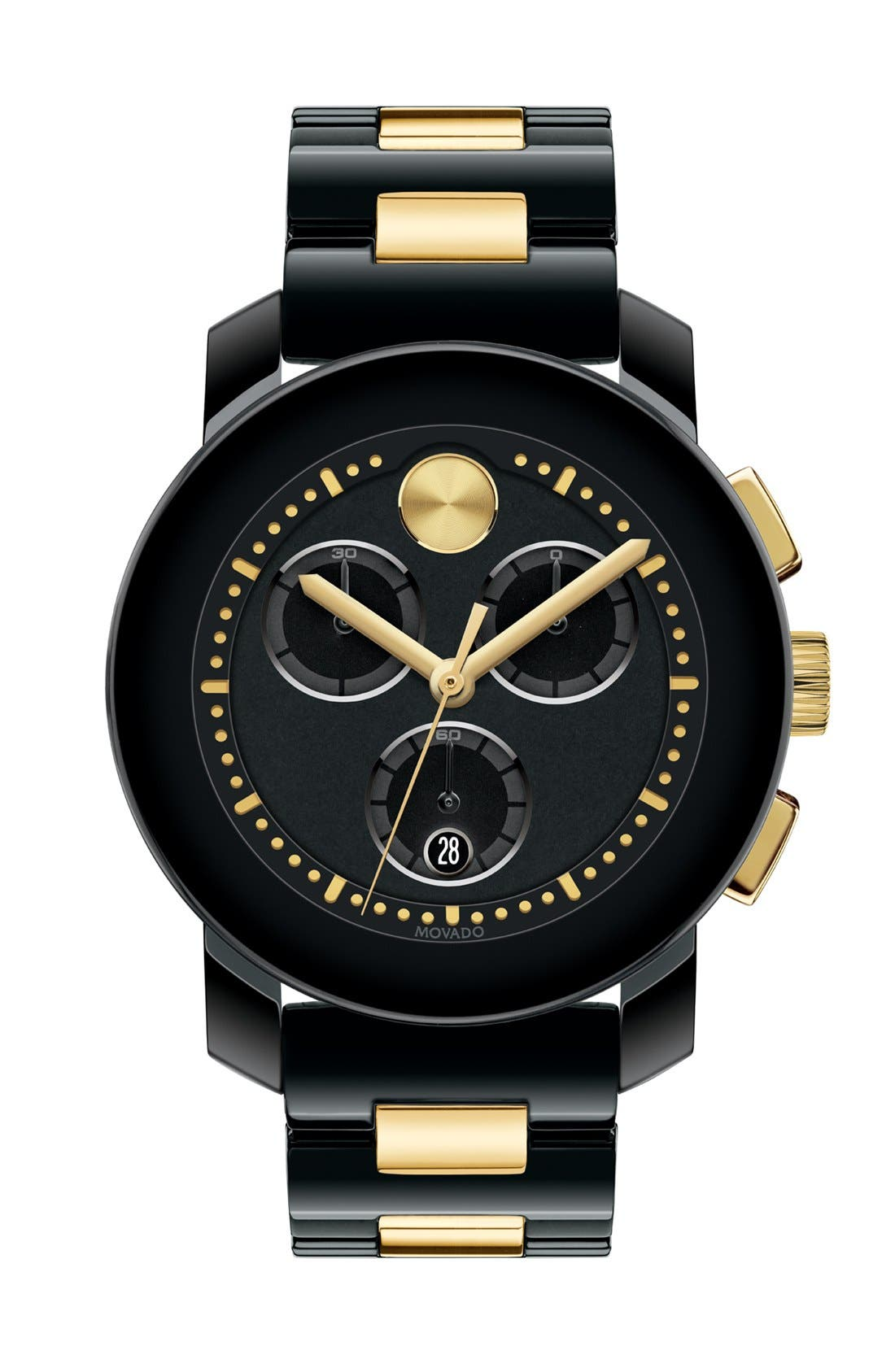 Main Image - Movado 'Bold' Two-Tone Ceramic Bracelet Watch, 38mm