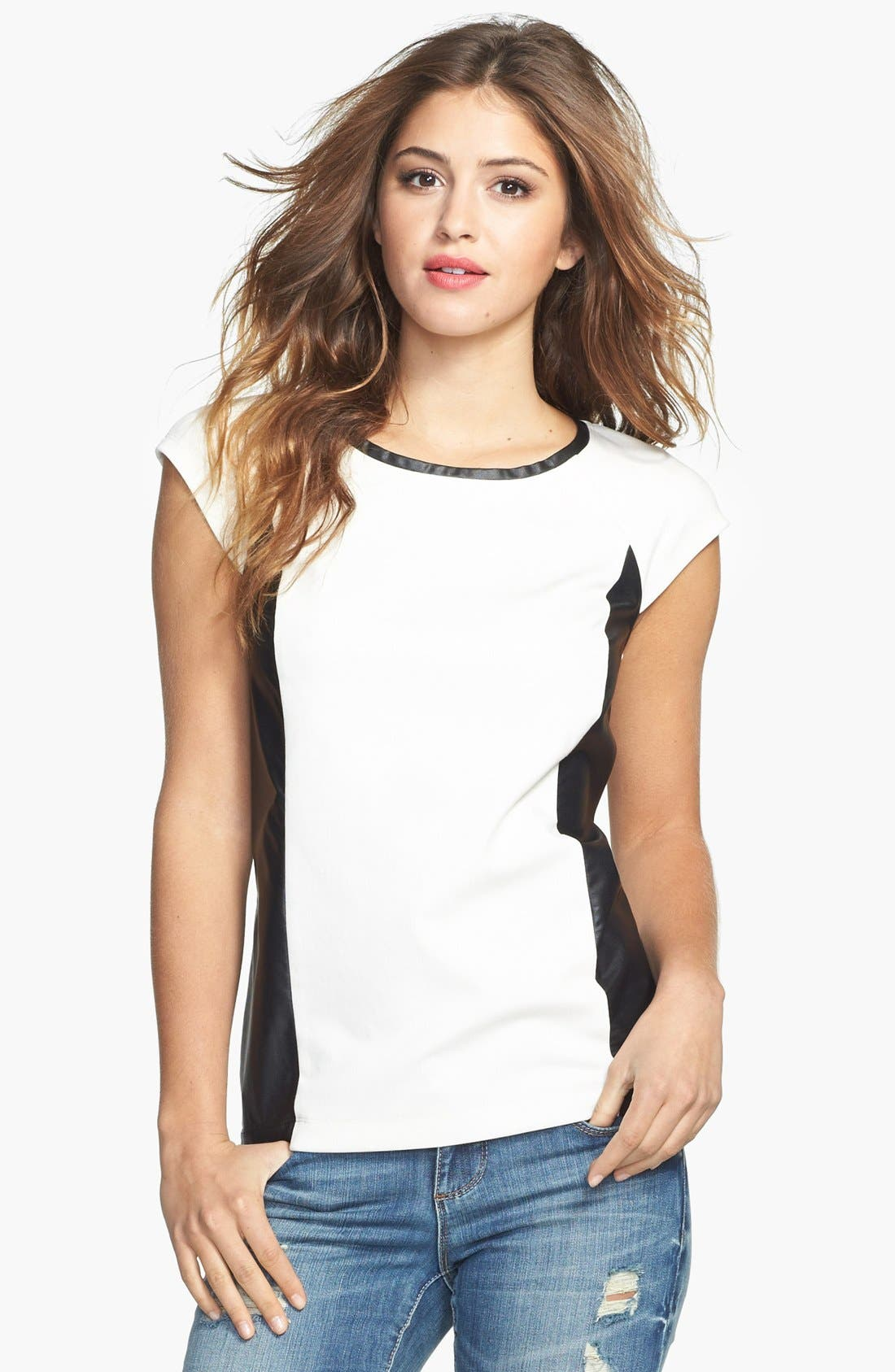 Alternate Image 1 Selected - Halogen® Faux Leather Inset Ponte Top