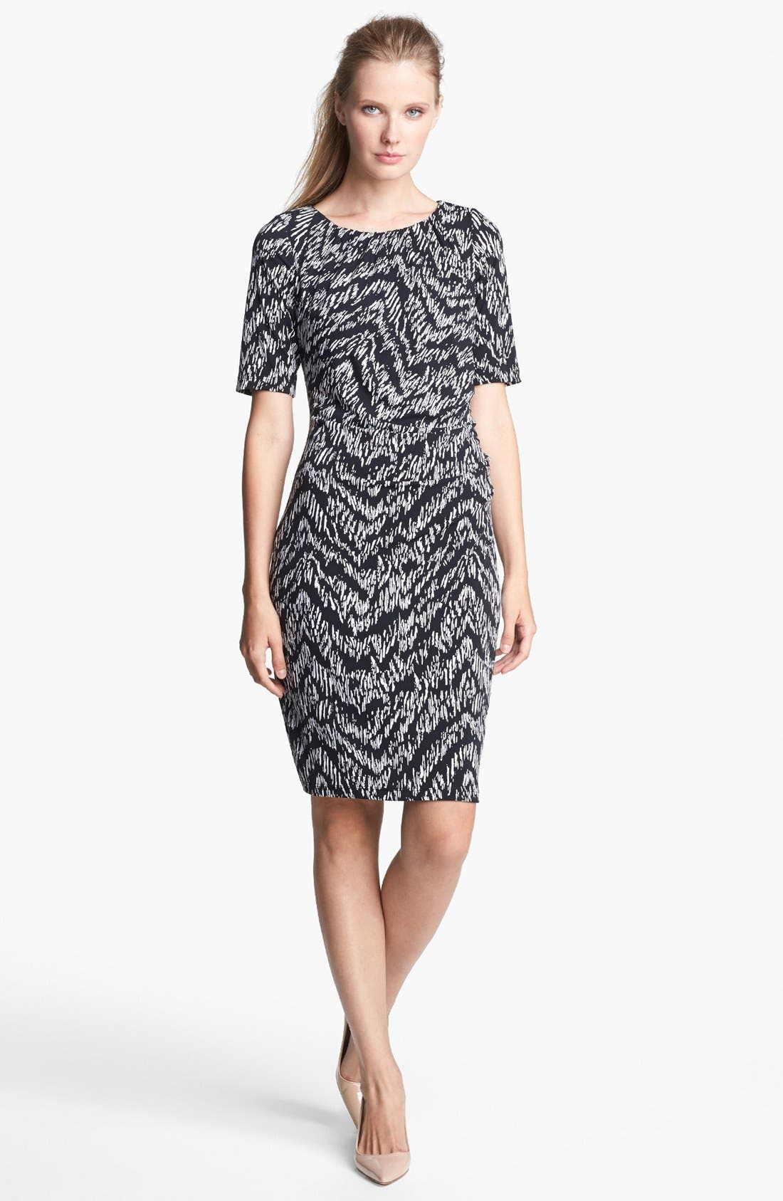 Main Image - Ellen Tracy Print Jersey Sheath Dress