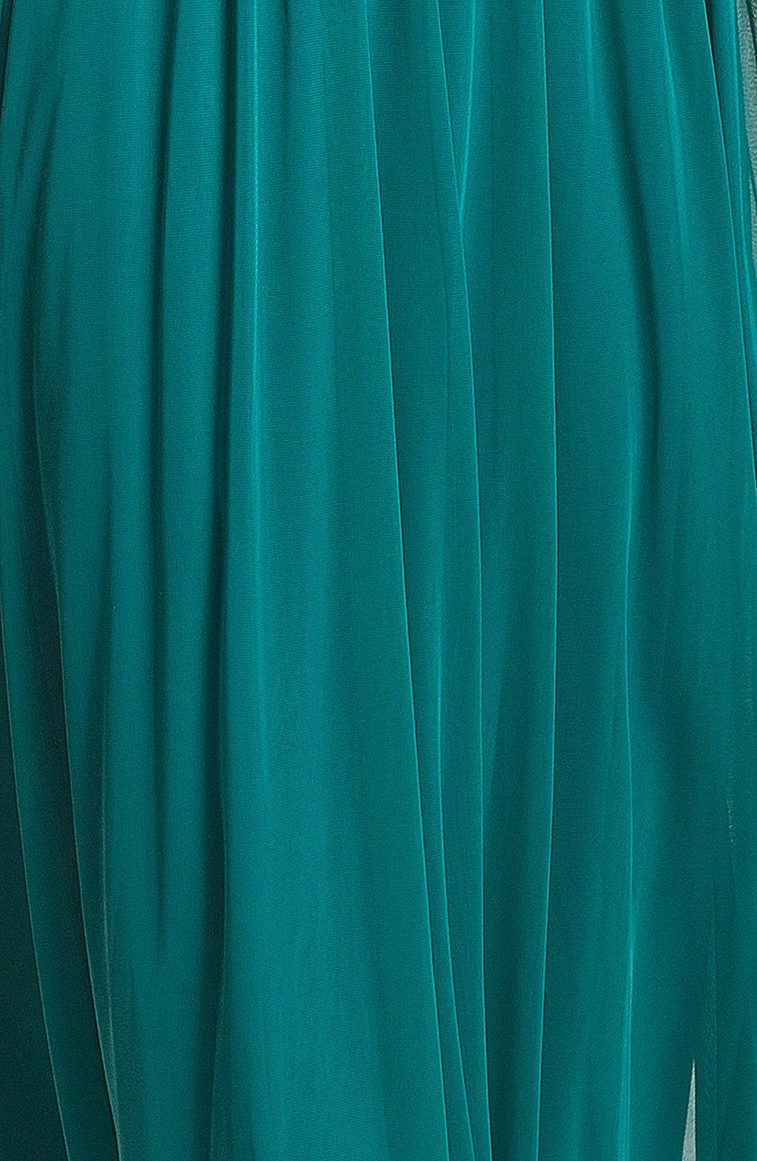Alternate Image 2  - Alex Evenings Lace Appliqué & Pleated Mesh Gown (Petite)