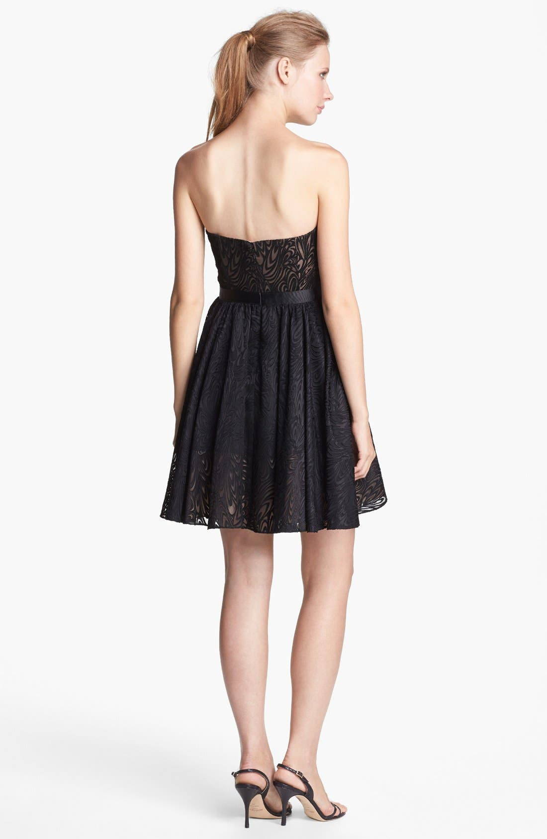 Alternate Image 2  - Aidan Mattox Strapless Fit & Flare Jacquard Dress