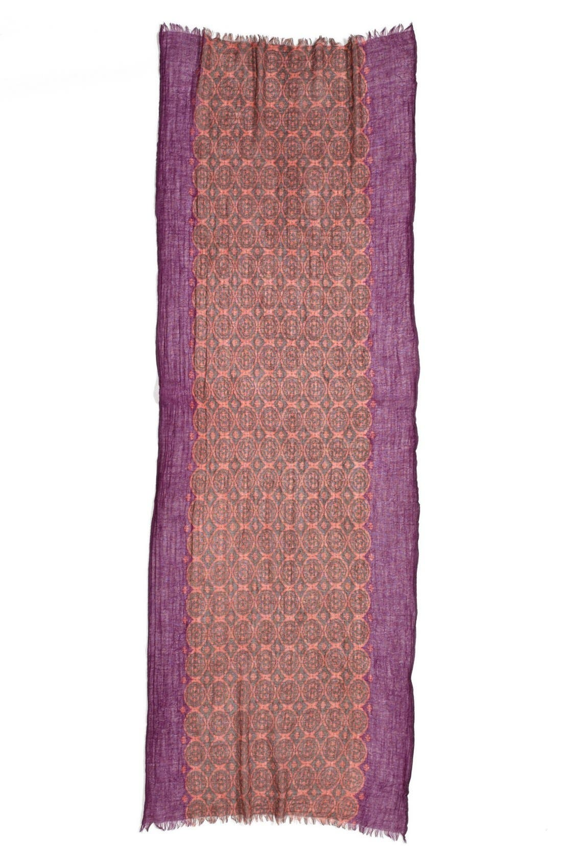 Alternate Image 2  - Nordstrom Floral Tile Wool Gauze Scarf