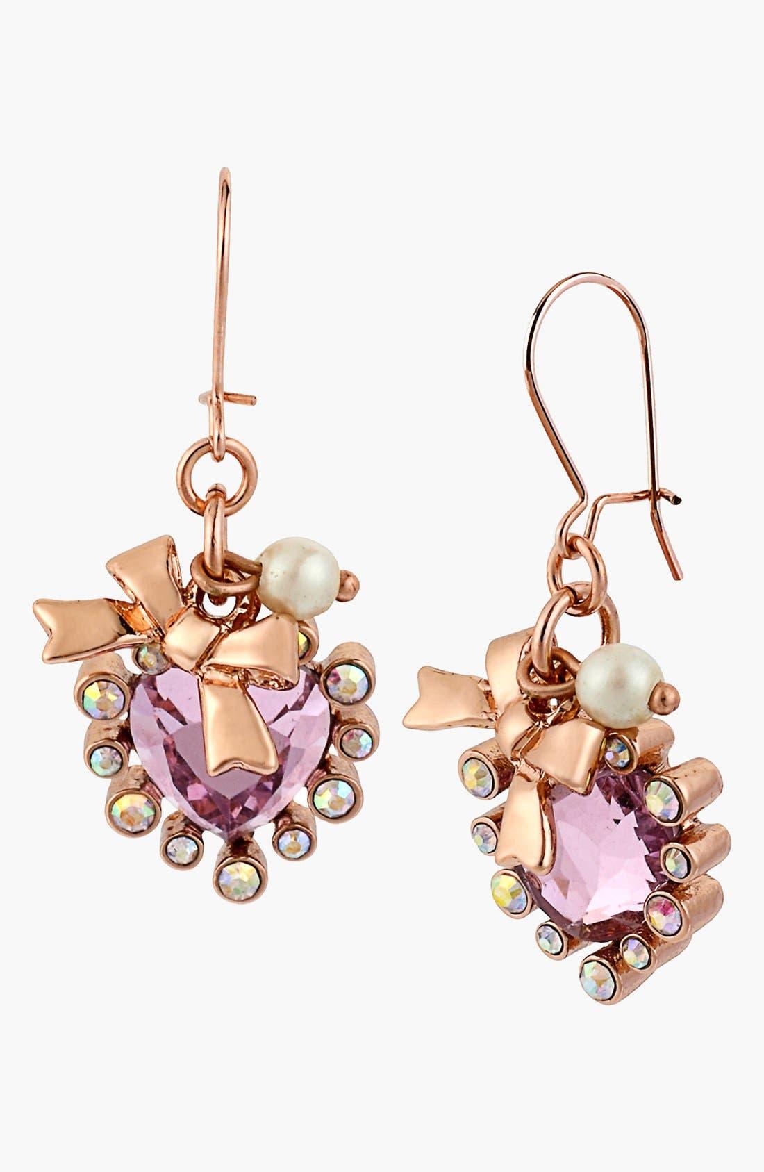 Main Image - Betsey Johnson Embellished Heart Drop Earrings