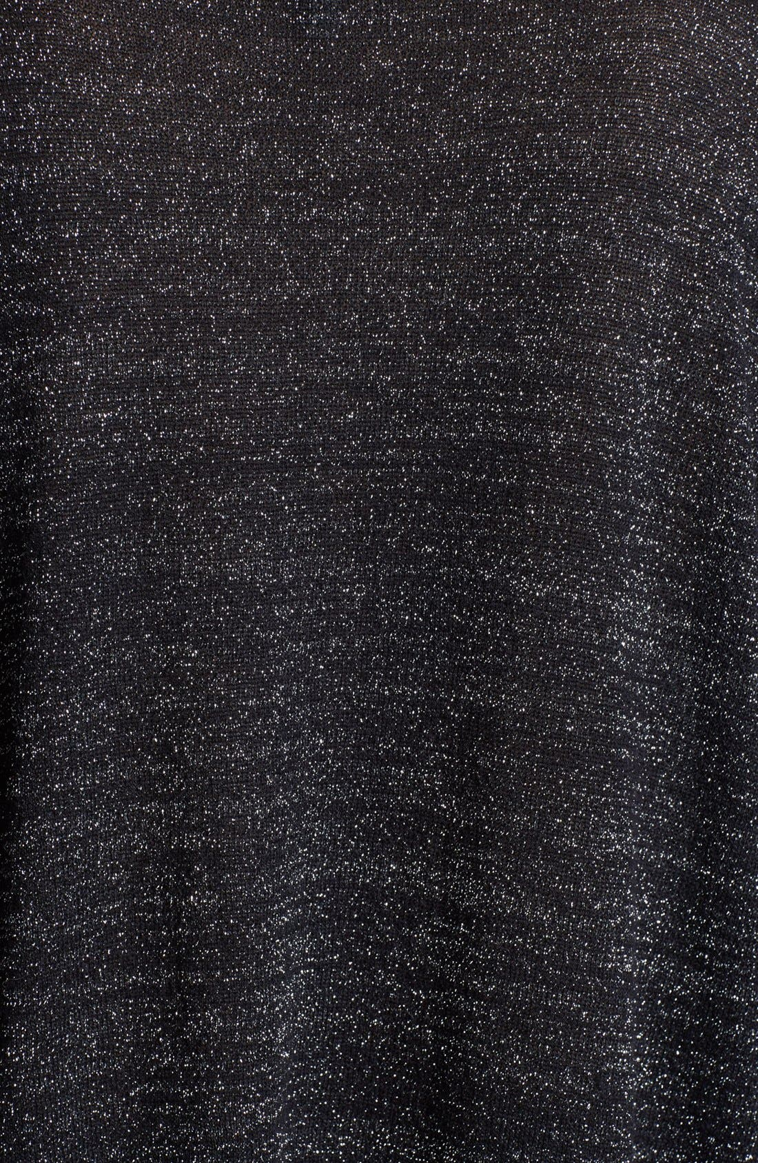 'Calee' Metallic Sweater,                             Alternate thumbnail 3, color,                             Caviar/ Silver