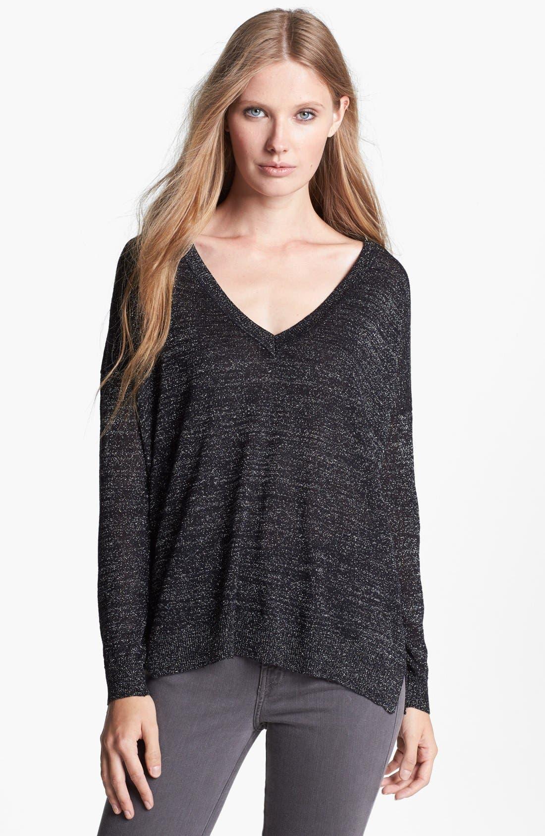 'Calee' Metallic Sweater,                         Main,                         color, Caviar/ Silver