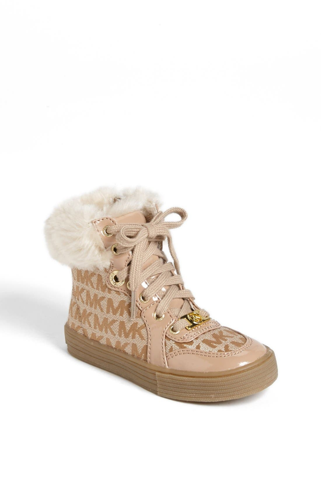 Main Image - MICHAEL Michael Kors 'Ivy' Faux Fur High Top Sneaker (Little Kid)