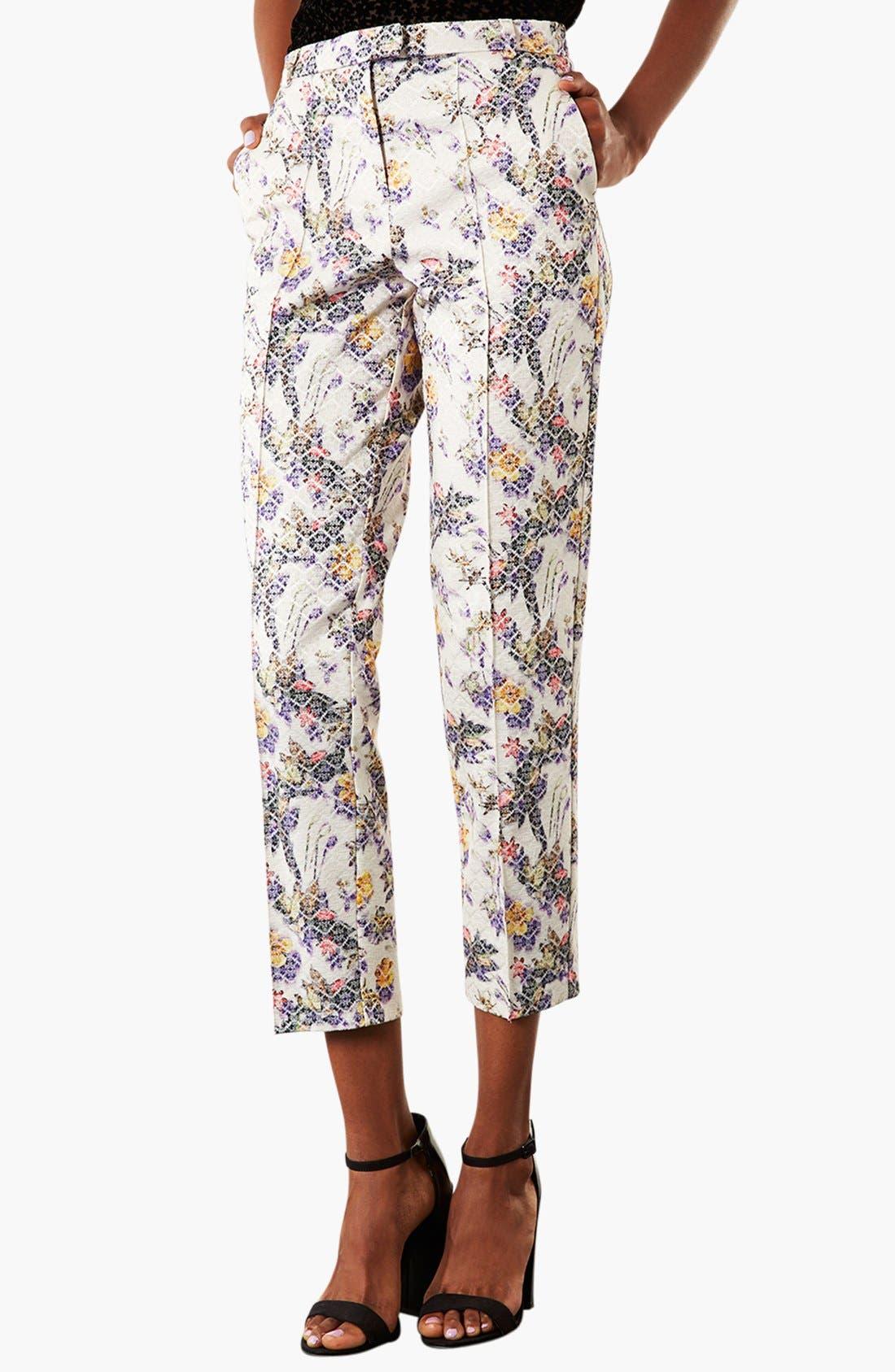 Main Image - Topshop Floral Jacquard Crop Trousers