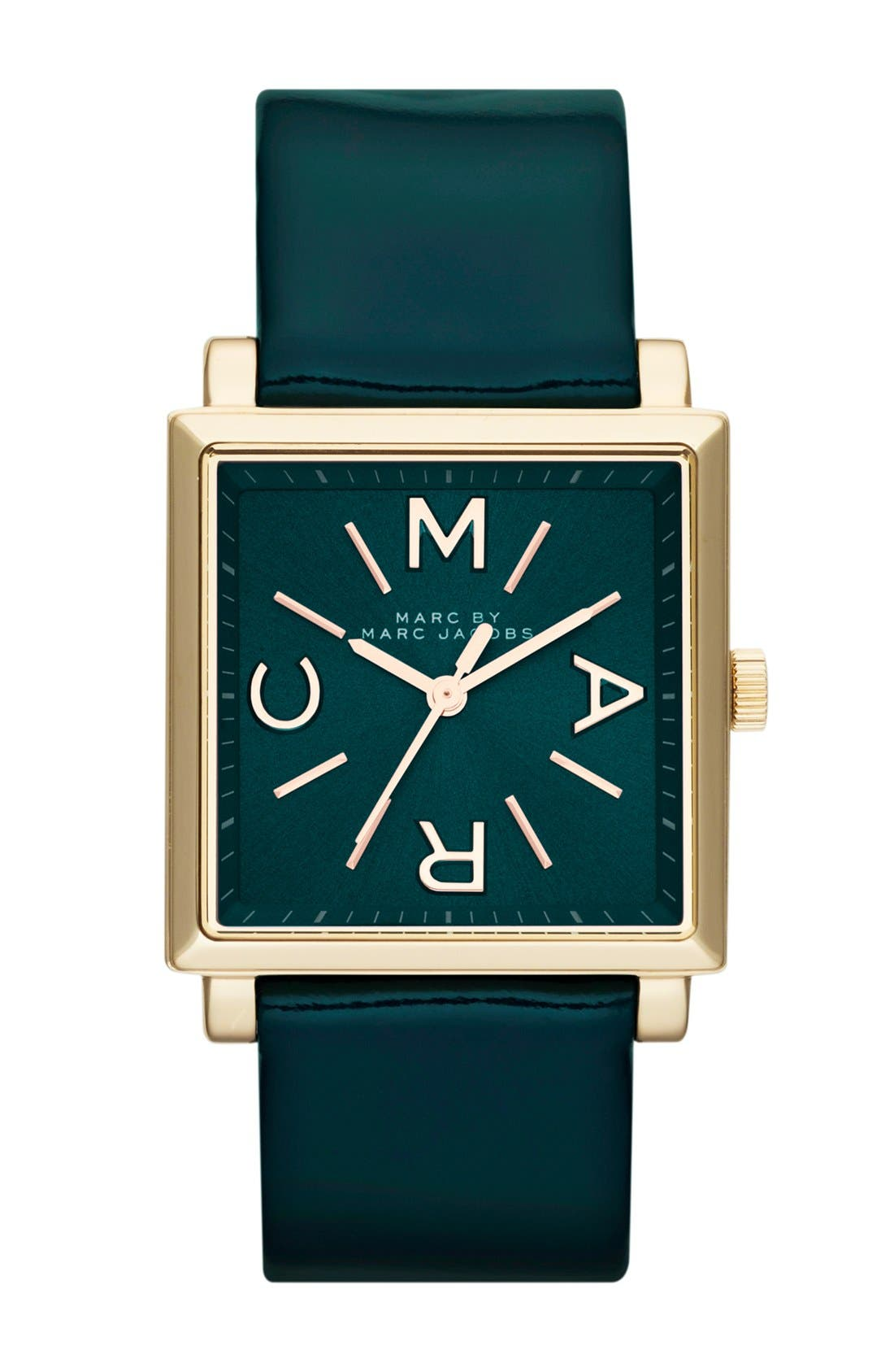Alternate Image 1 Selected - MARC BY MARC JACOBS 'Truman' Square Leather Strap Watch, 30mm
