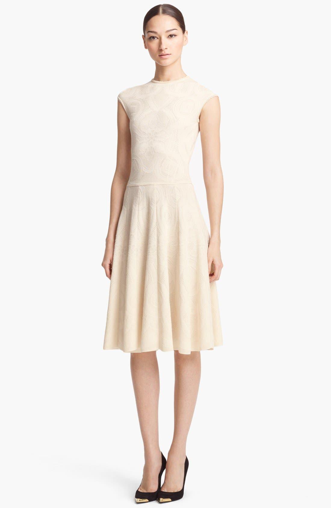 Alternate Image 1 Selected - Alexander McQueen Full Skirt Jacquard Knit Dress