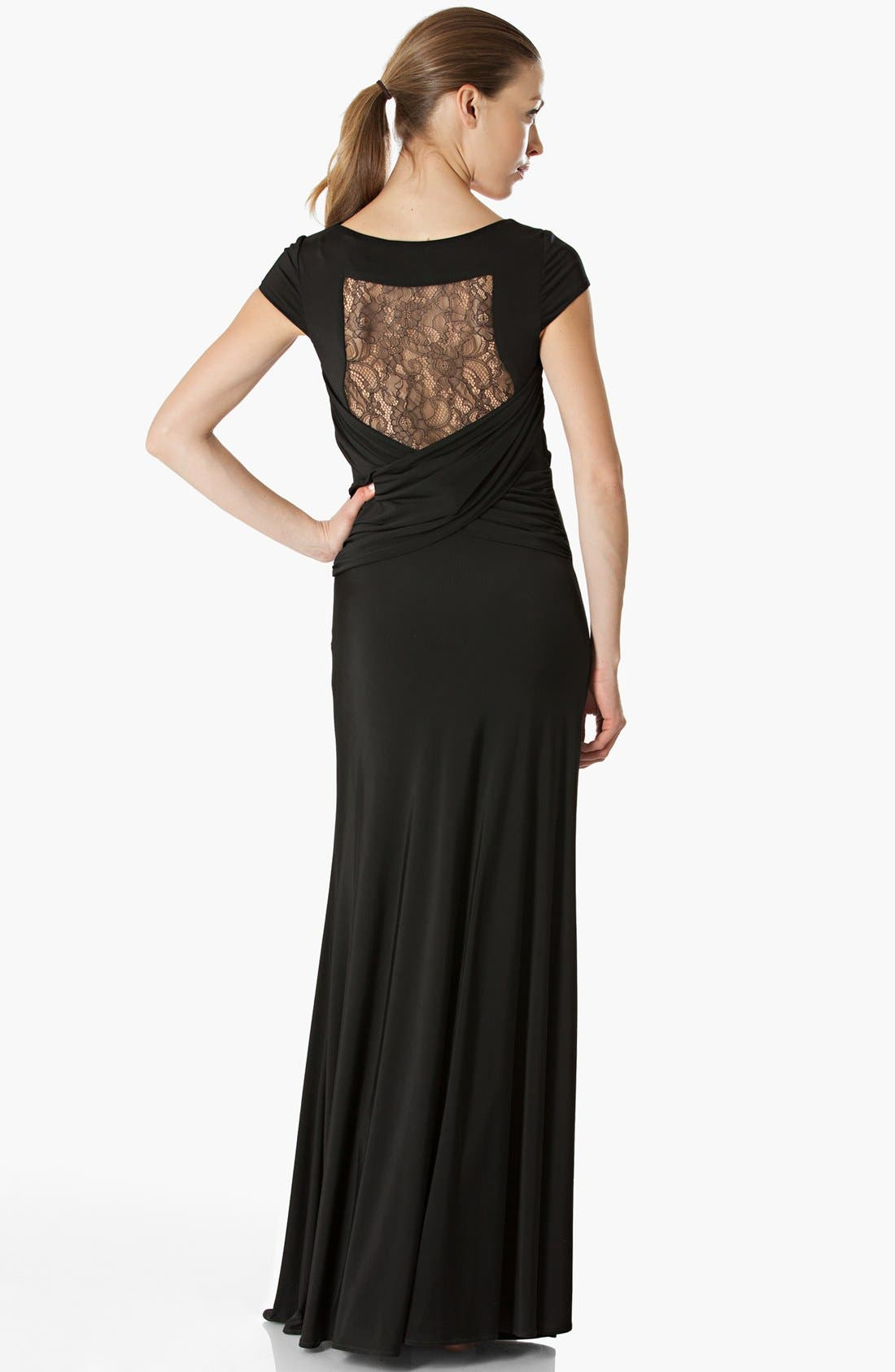 Alternate Image 2  - JS Collections Lace Back Jersey Gown