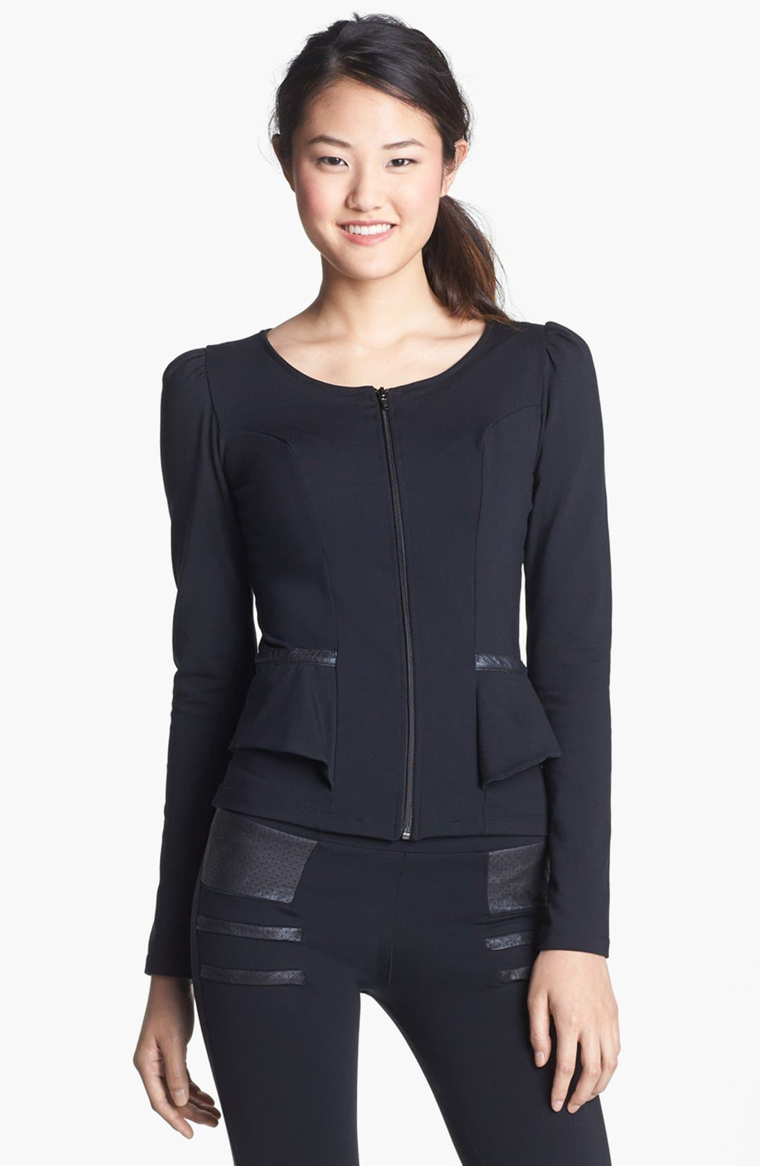Main Image - Solow Faux Leather Trim Jacket