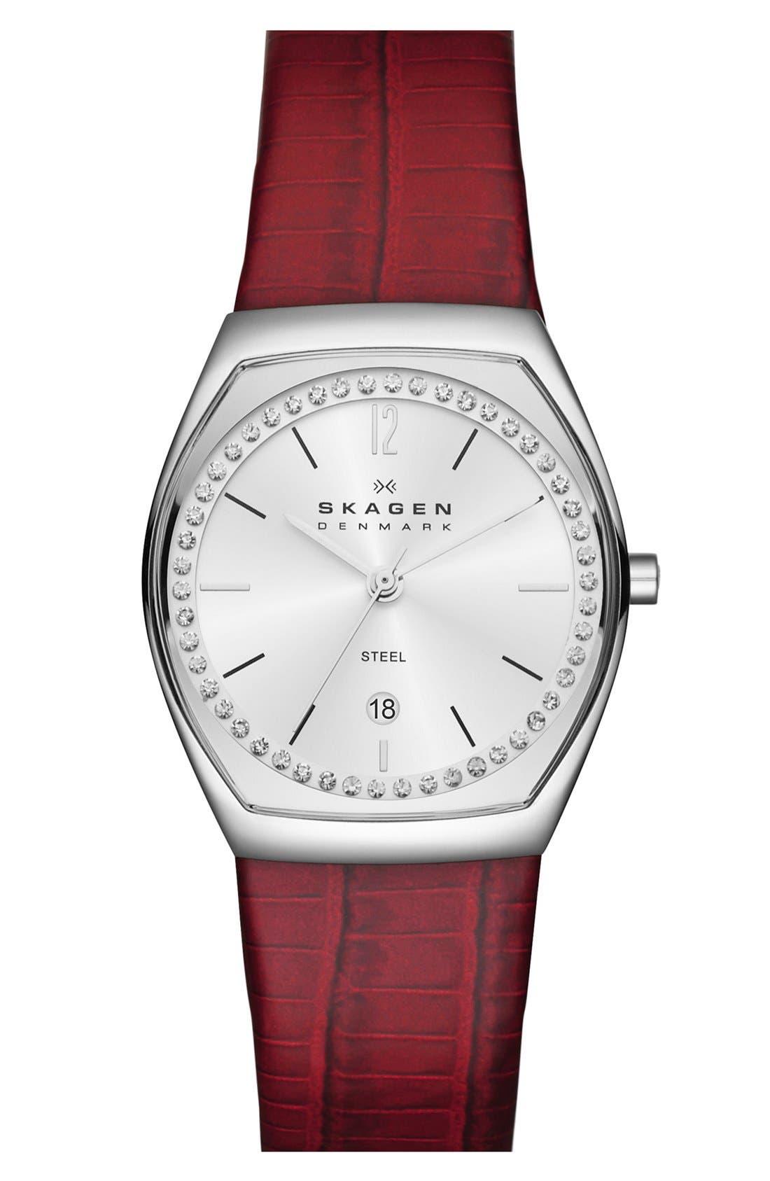 Main Image - Skagen Barrel Case Leather Strap Watch, 28mm
