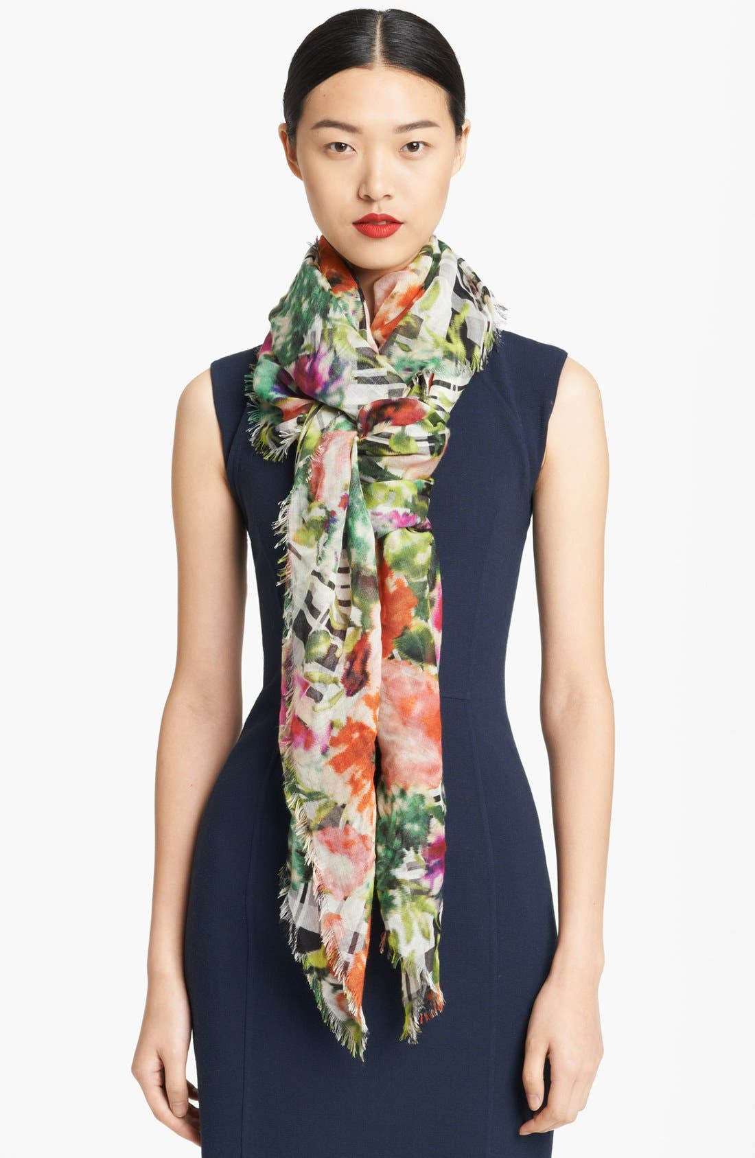 Alternate Image 1 Selected - Oscar de la Renta Floral Print Scarf