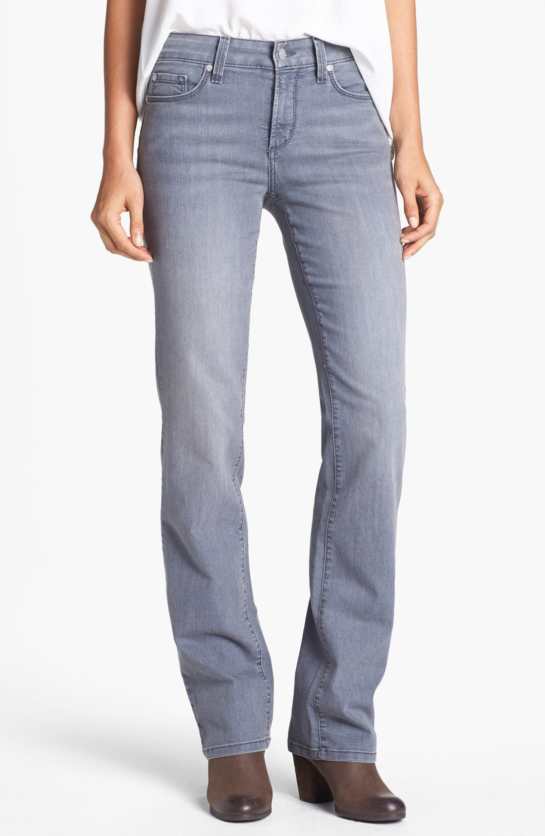 Alternate Image 1 Selected - NYDJ 'Marilyn' Straight Leg Jeans (Grey) (Petite)