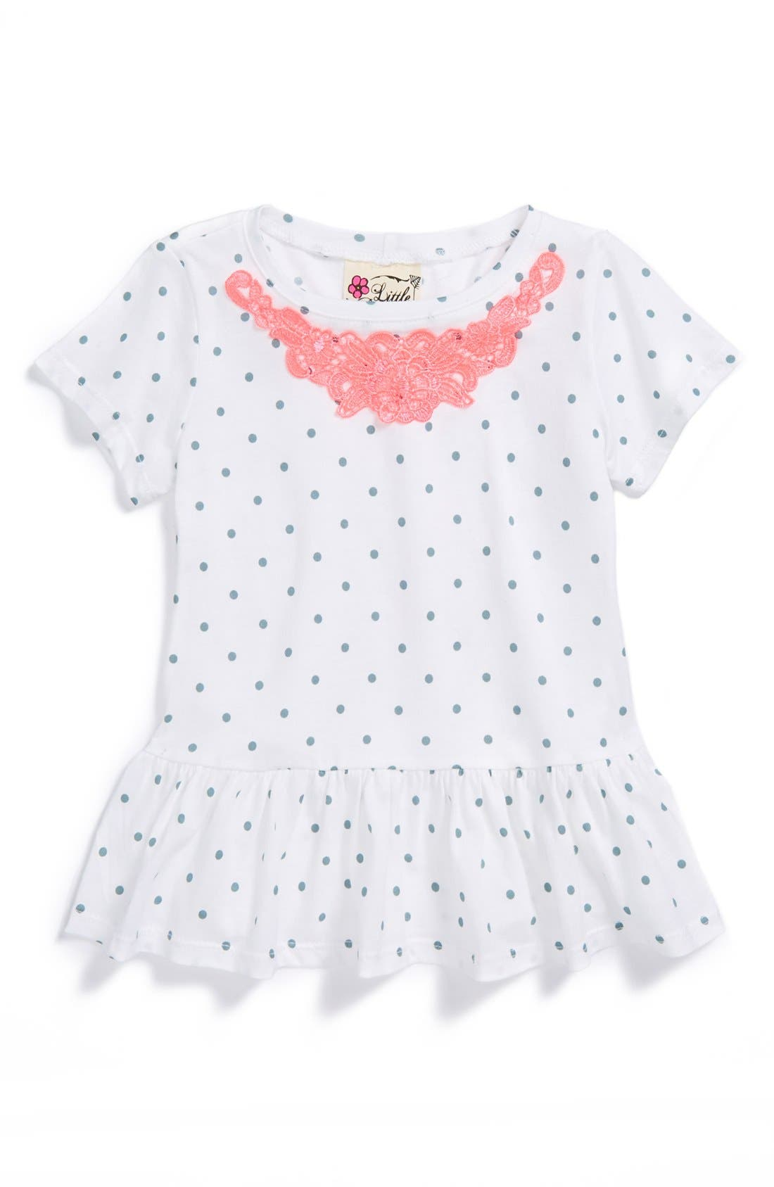 Main Image - Little Pretties Peplum Tee (Toddler Girls)