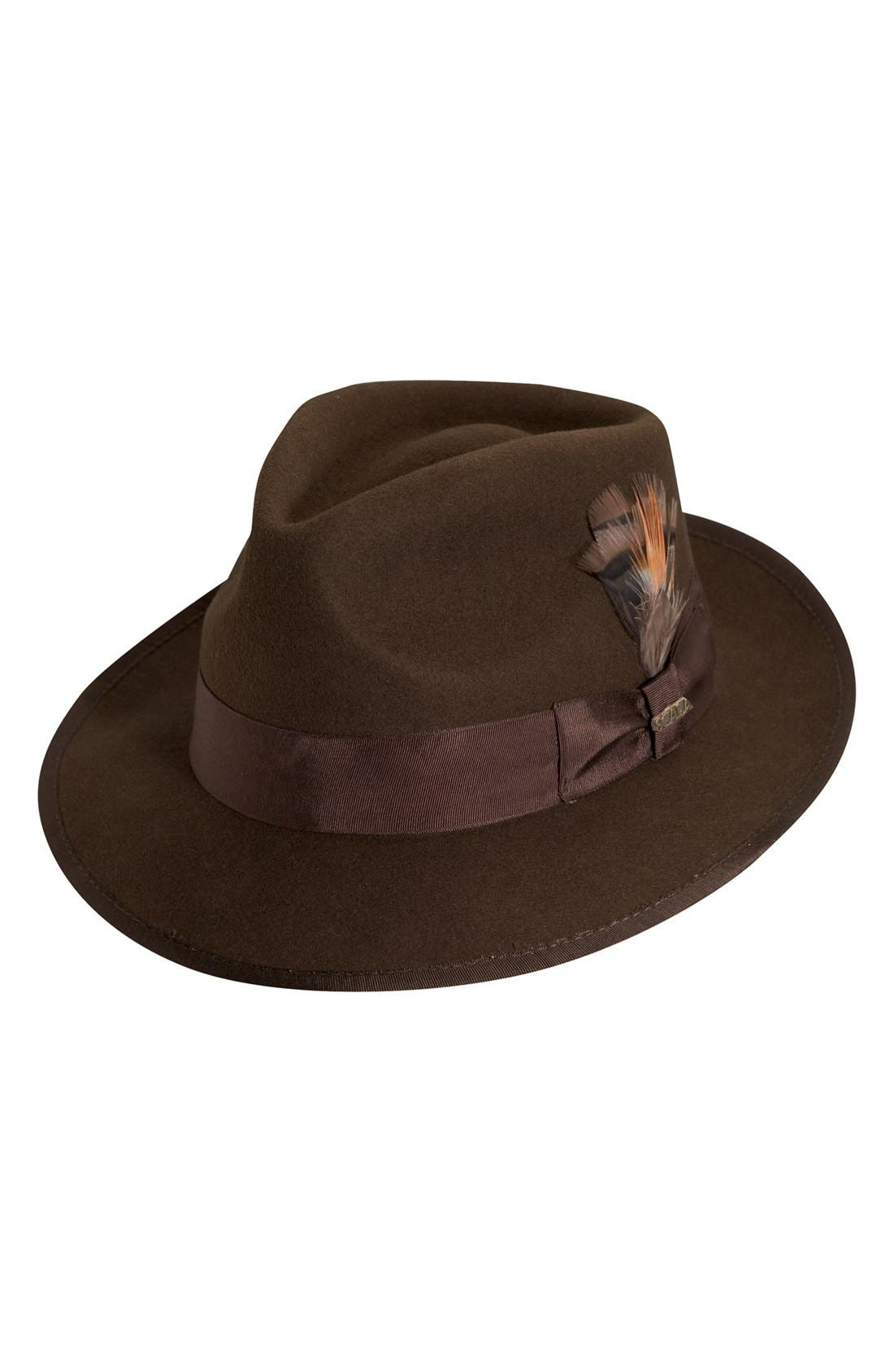 'Classico' Wool Felt Snap Brim Hat,                             Main thumbnail 1, color,                             Brown