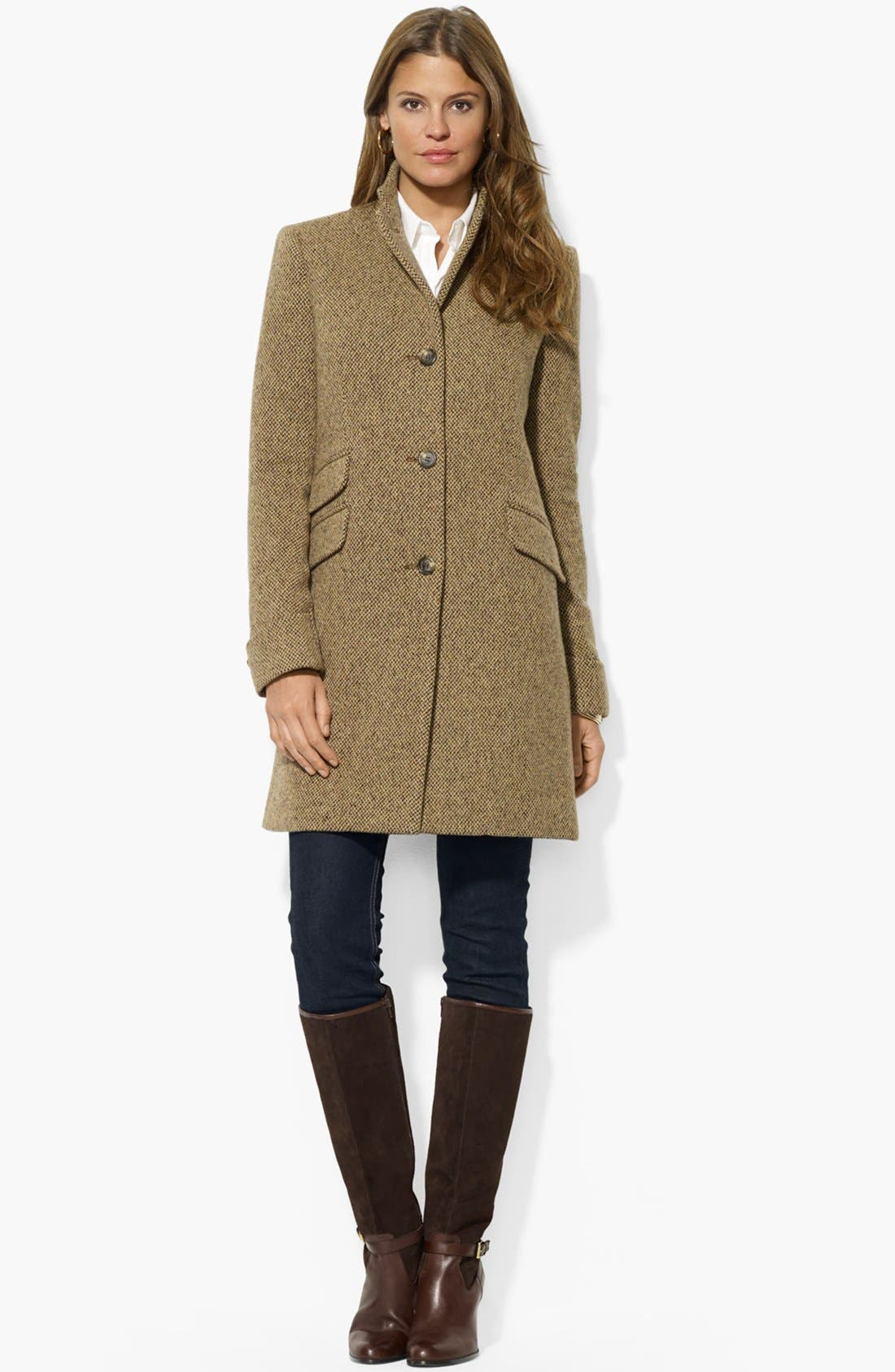 Main Image - Lauren Ralph Lauren Wool Blend Twill Coat (Regular & Petite)